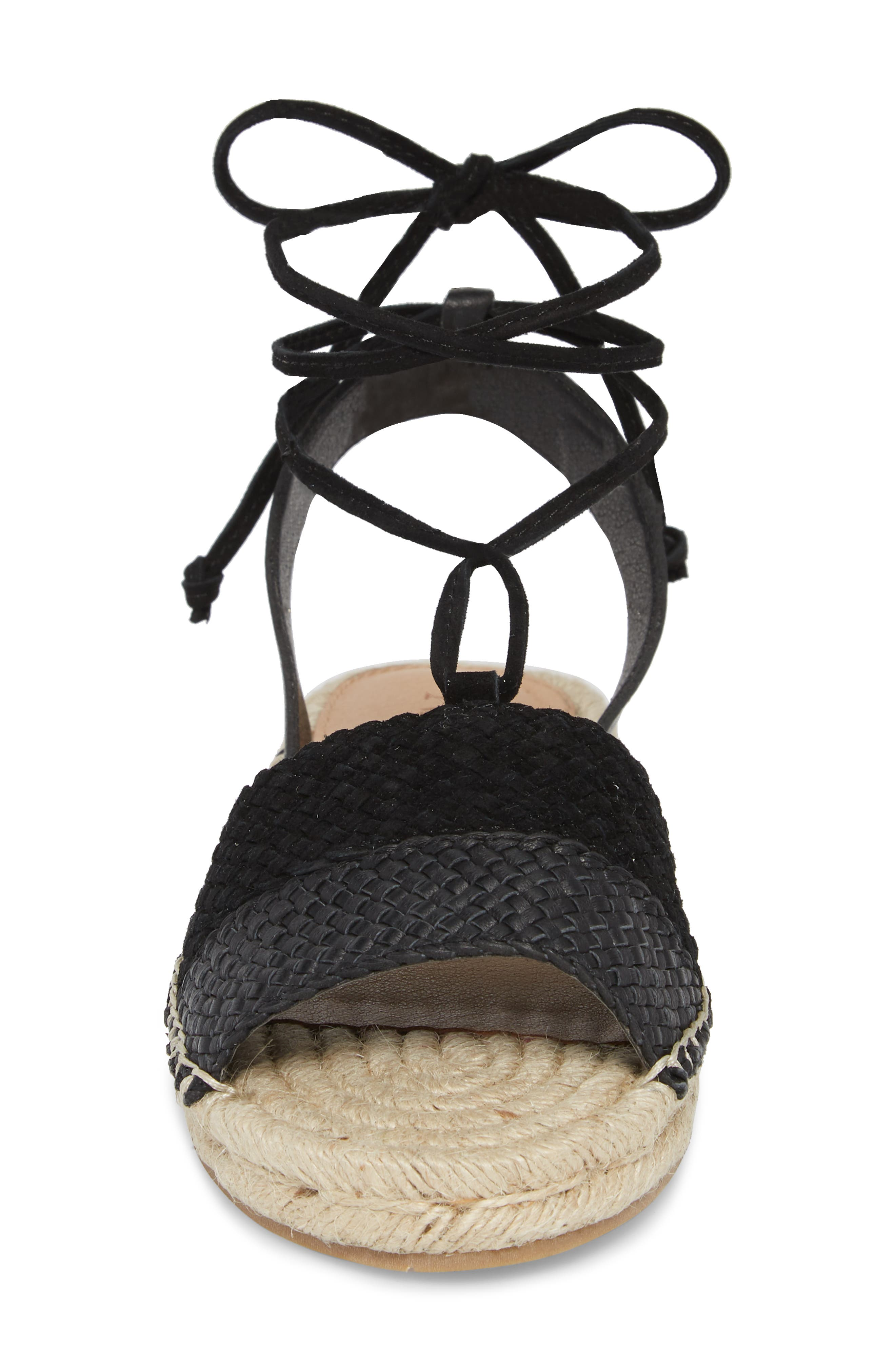 NIC+ZOE, Eliza Ankle Wrap Espadrille Sandal, Alternate thumbnail 4, color, BLACK FABRIC