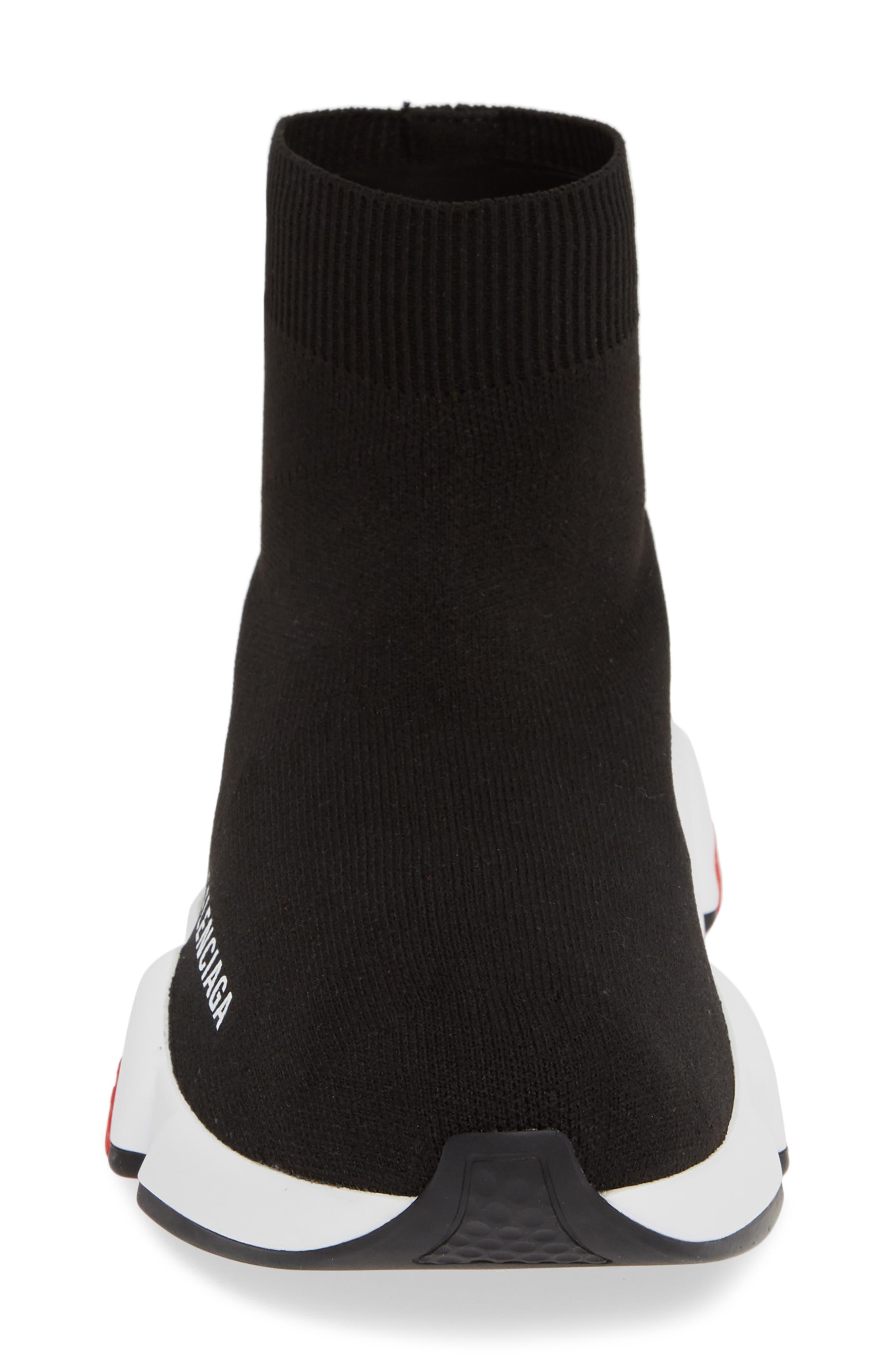 BALENCIAGA, Speed Knit Sneaker, Alternate thumbnail 4, color, BLACK/ RED