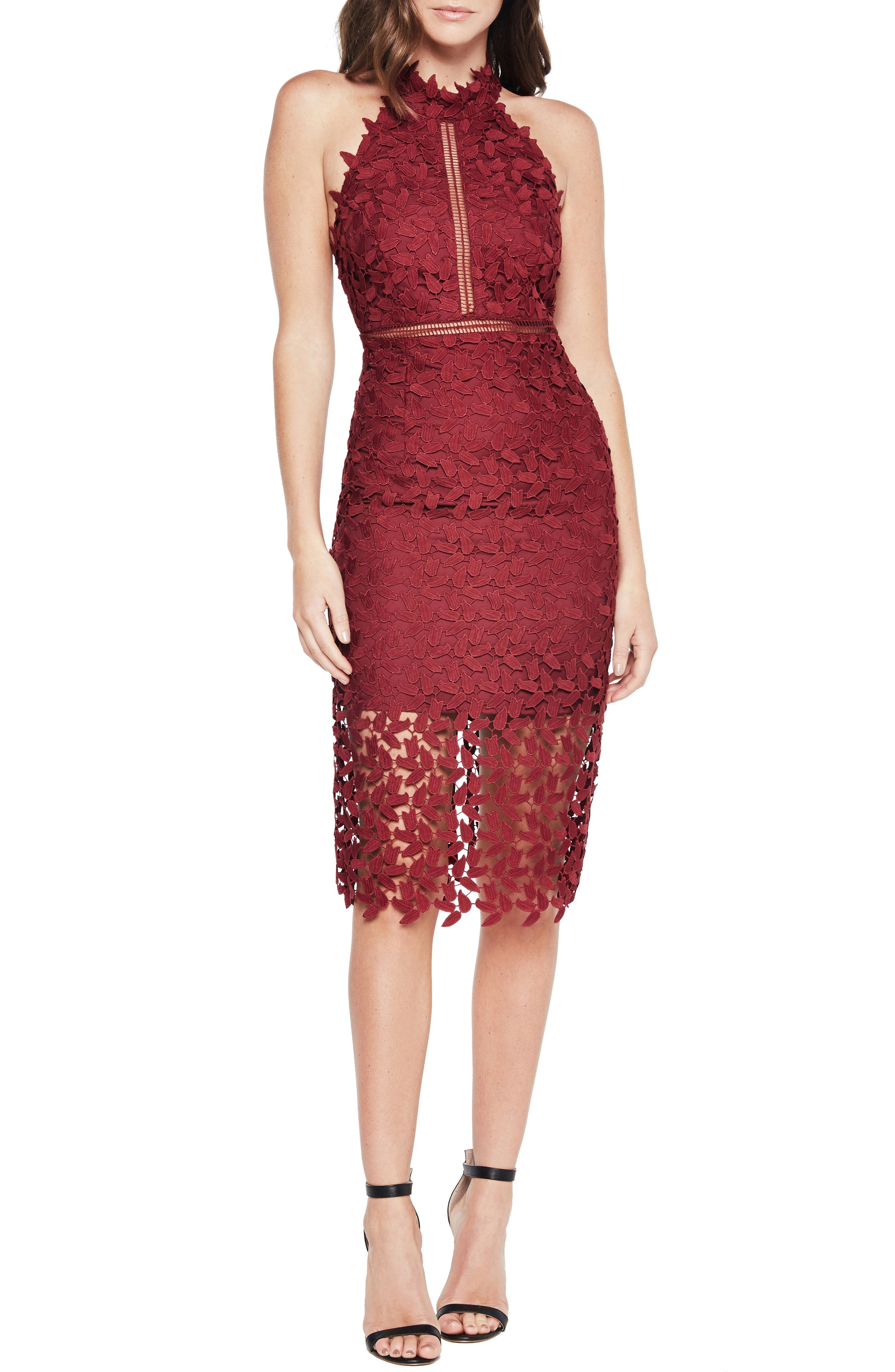 BARDOT, Gemma Halter Lace Sheath Dress, Main thumbnail 1, color, BURGUNDY