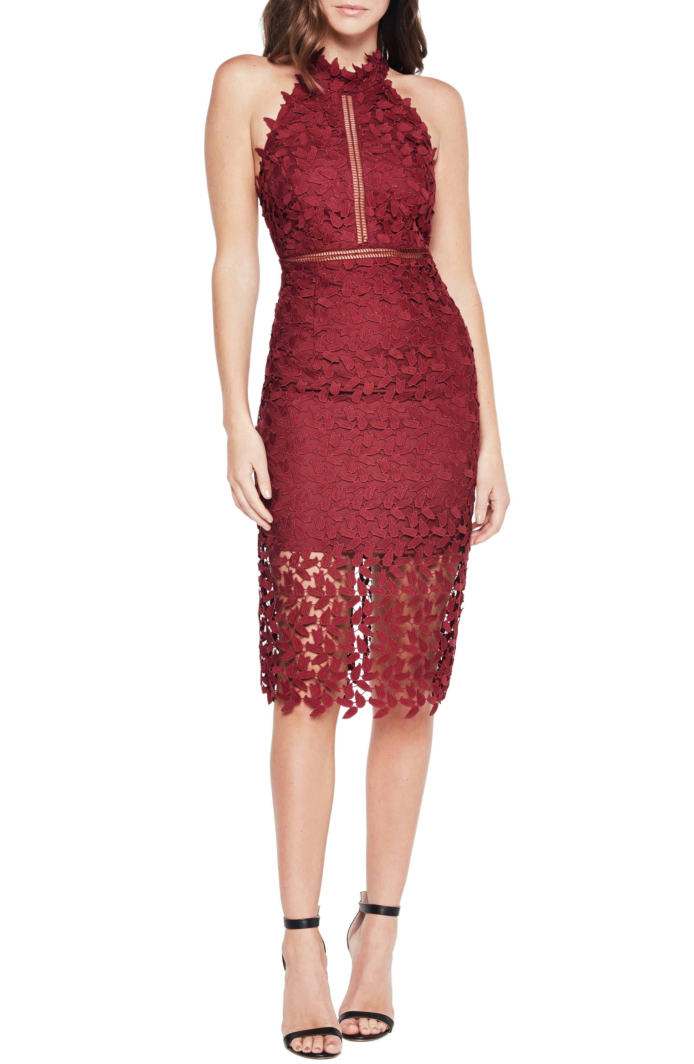 BARDOT Gemma Halter Lace Sheath Dress, Main, color, BURGUNDY