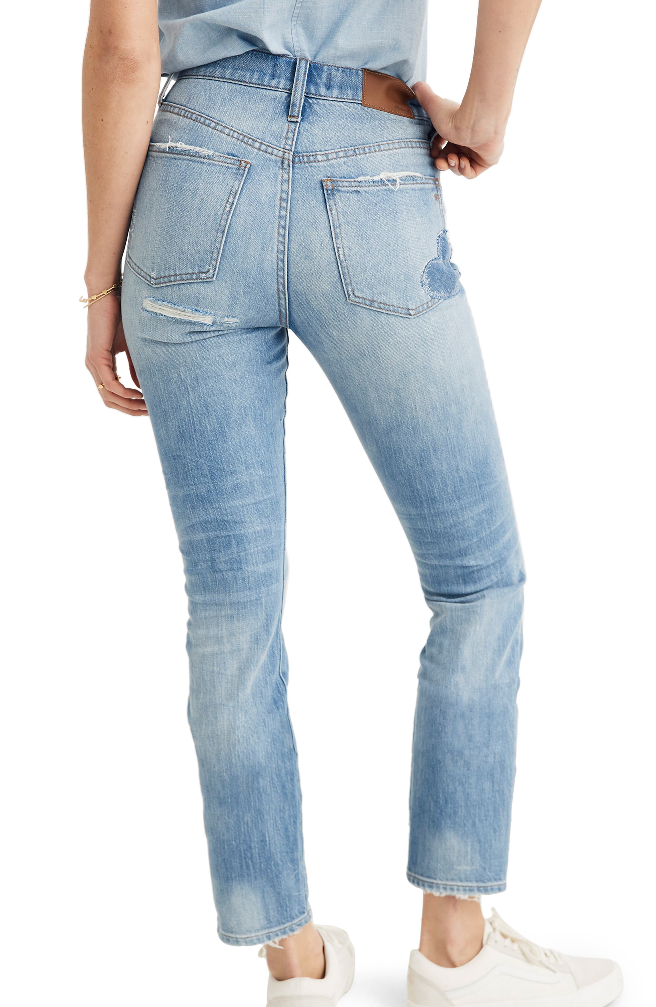MADEWELL, The Perfect Vintage Heart Patch High Waist Jeans, Alternate thumbnail 2, color, ATWATER WASH