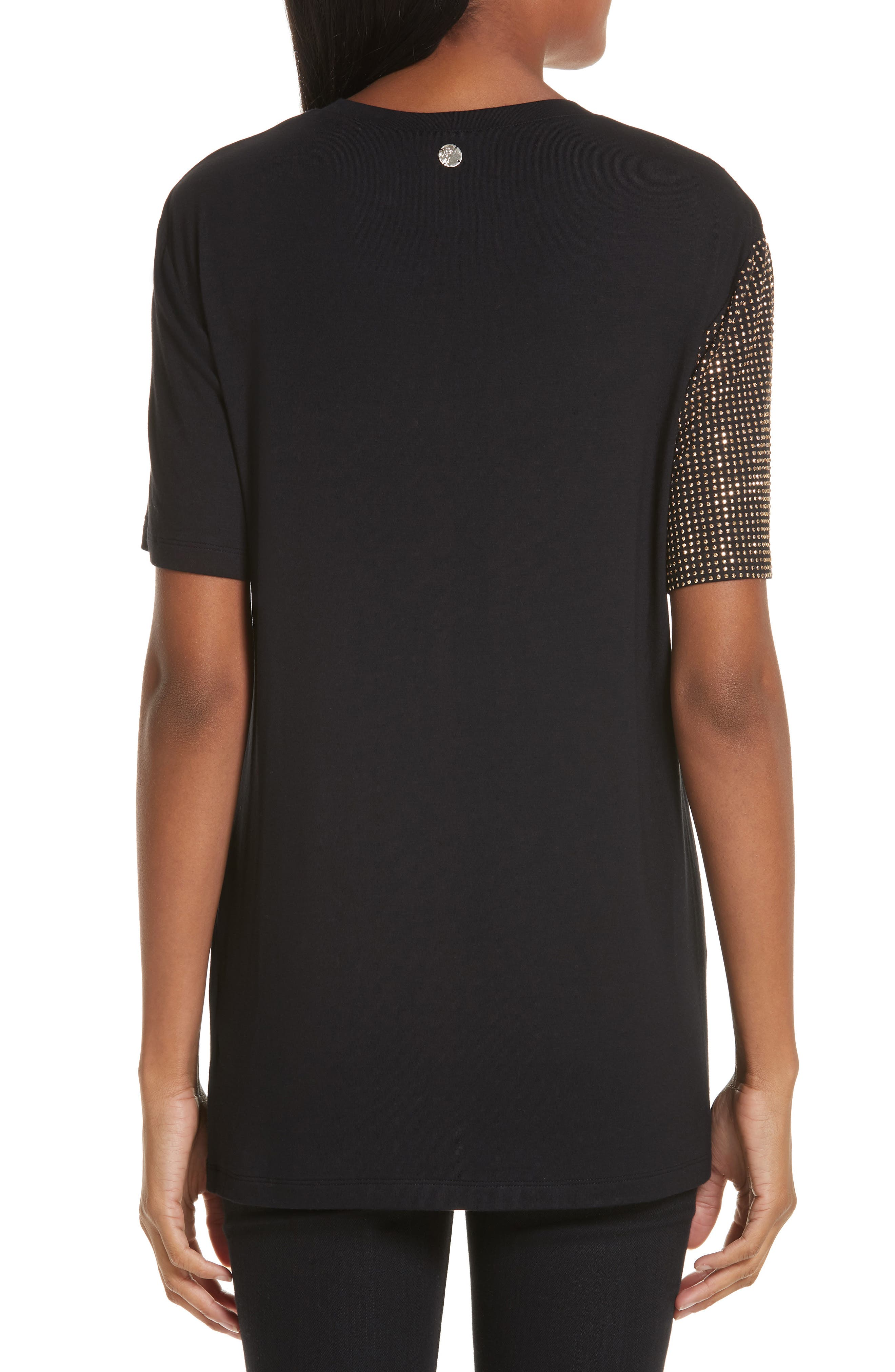 VERSACE COLLECTION, Embellished Tee, Alternate thumbnail 2, color, BLACK