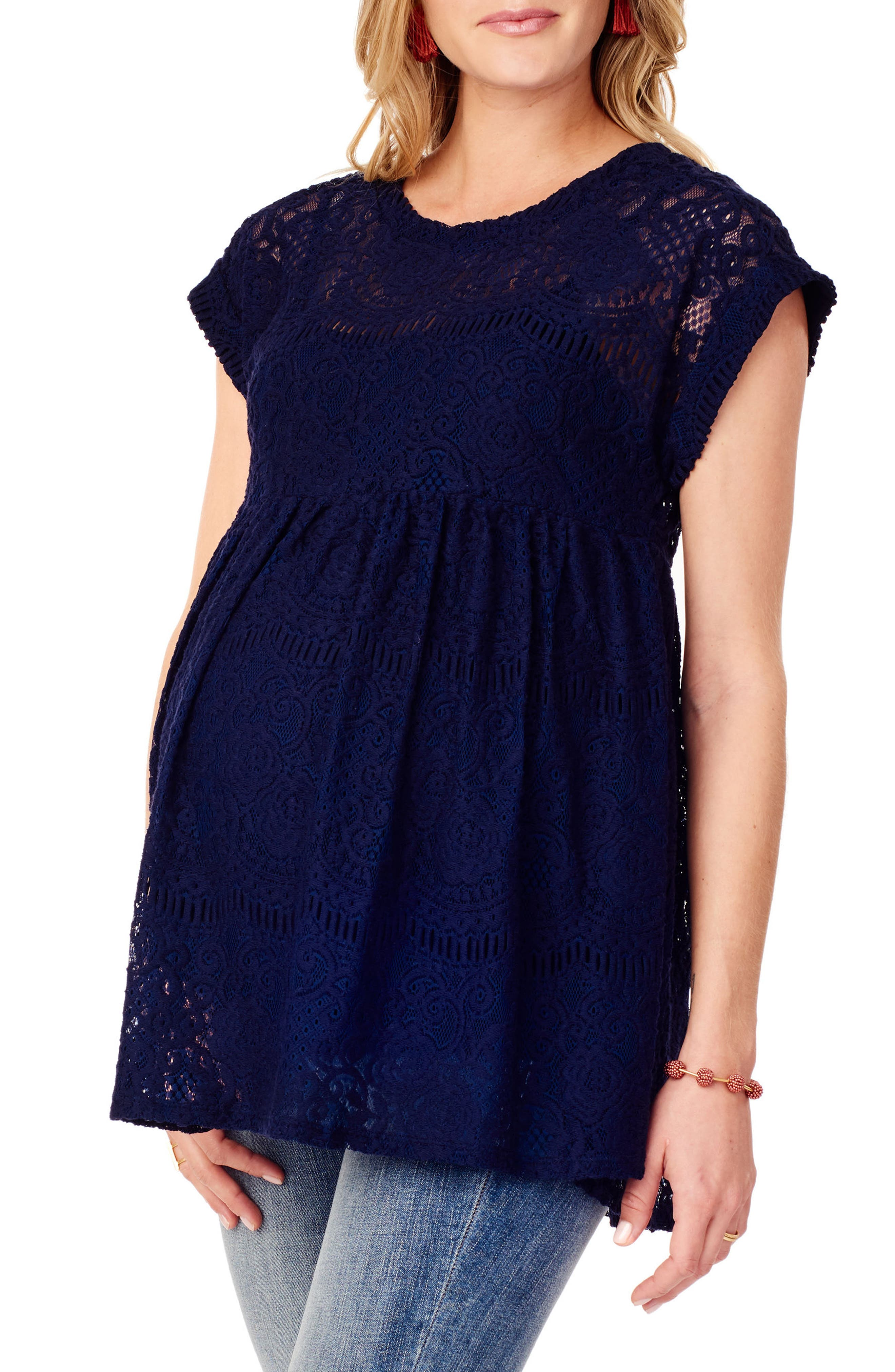 INGRID & ISABEL<SUP>®</SUP>, Lace Maternity Swing Top, Alternate thumbnail 3, color, TRUE NAVY