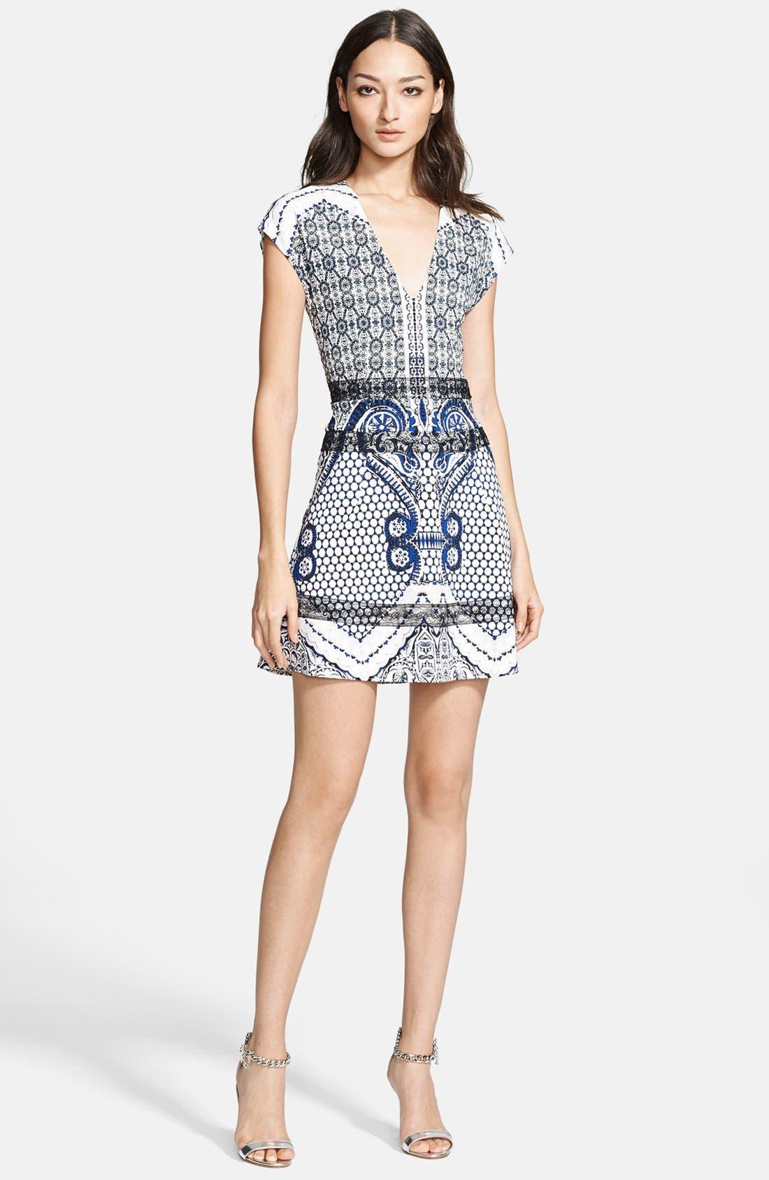 ROBERTO CAVALLI, Print Fit & Flare Dress, Main thumbnail 1, color, 400