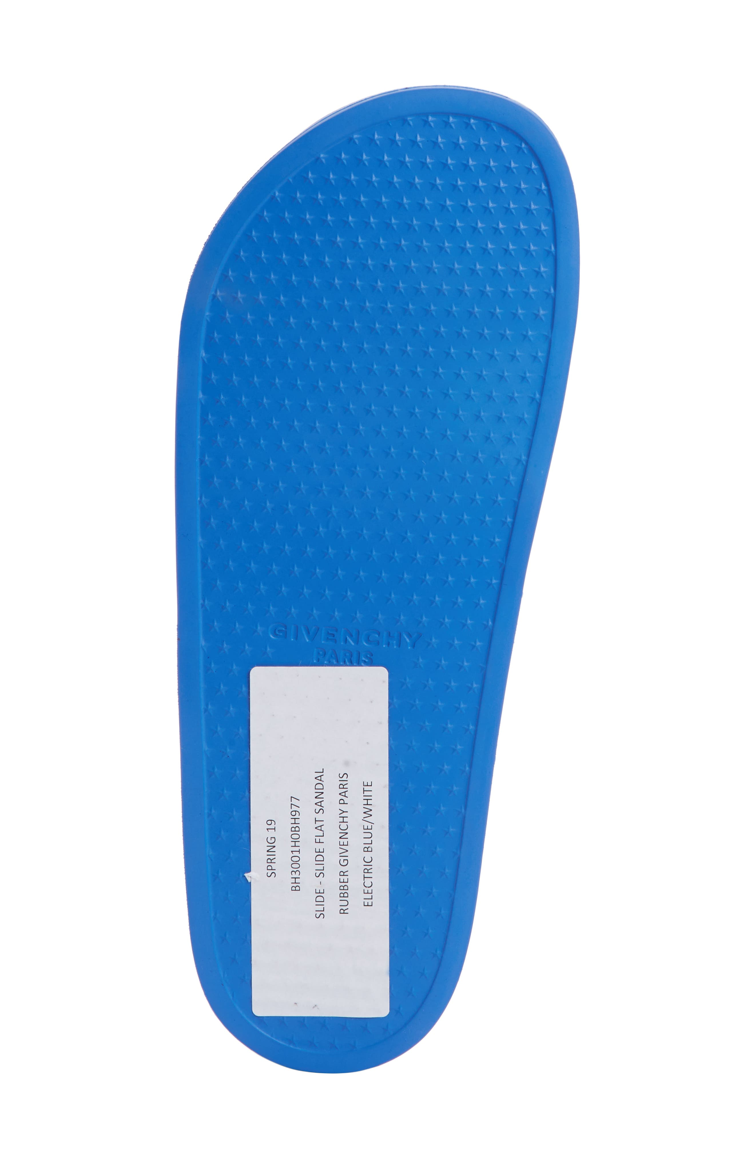 GIVENCHY, Slide Sandal, Alternate thumbnail 6, color, ELECTRIC BLUE/ WHITE