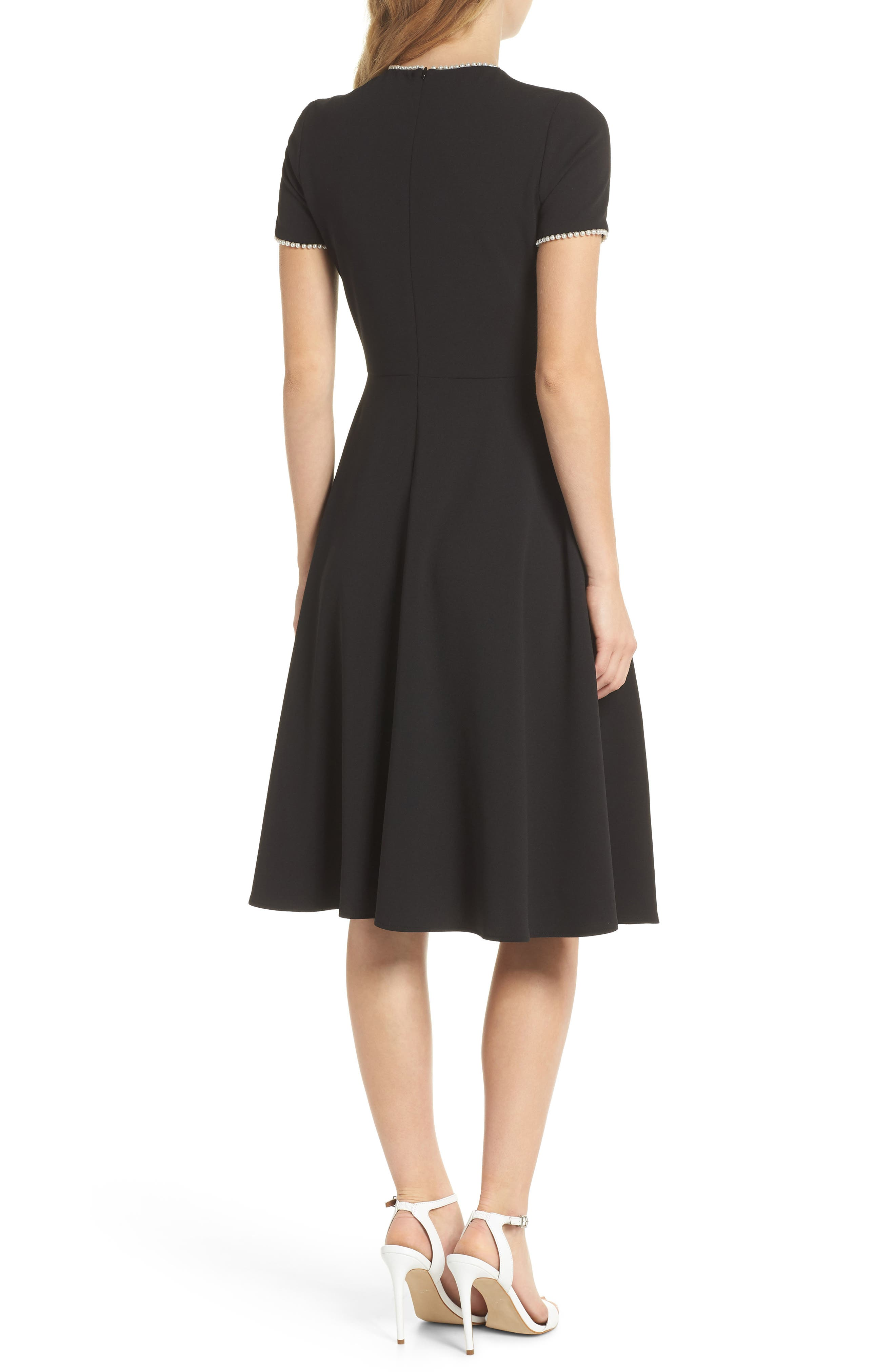 GAL MEETS GLAM COLLECTION, Victoria Pearly Trim Fit & Flare Cocktail Dress, Alternate thumbnail 2, color, BLACK