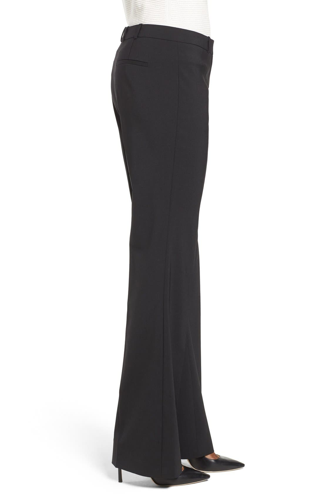 BOSS, Tulea3 Tropical Stretch Wool Trousers, Alternate thumbnail 5, color, BLACK