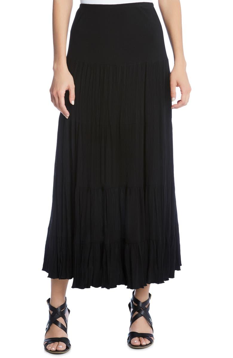 Karen Kane Skirts CRUSHED TIERED MAXI SKIRT