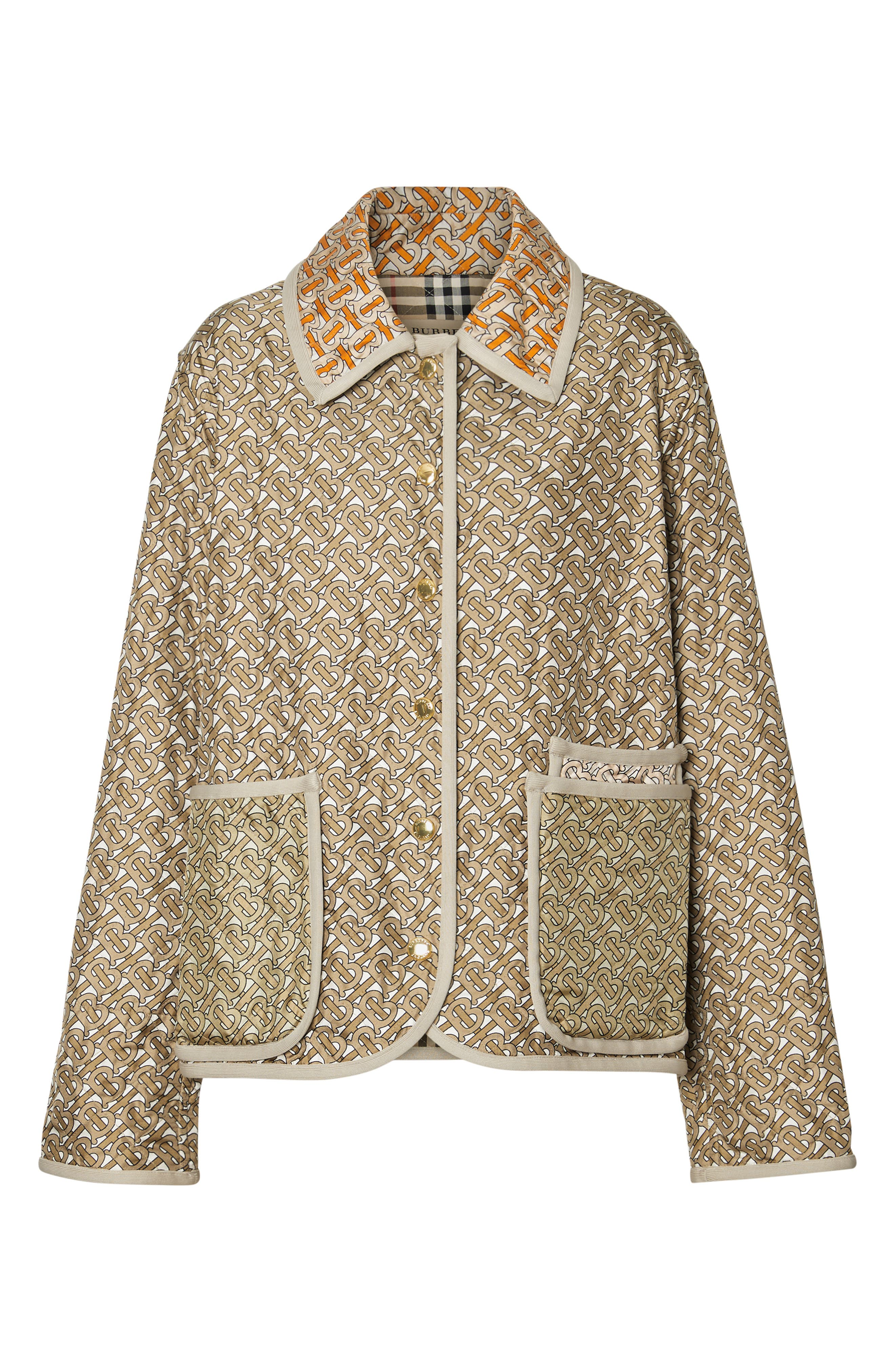BURBERRY, Monogram Logo Print Quilted Silk Jacket, Alternate thumbnail 5, color, ARCHIVE BEIGE