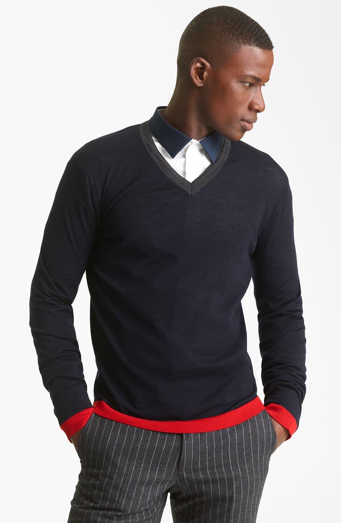 KENZO, V-Neck Sweater, Main thumbnail 1, color, 410