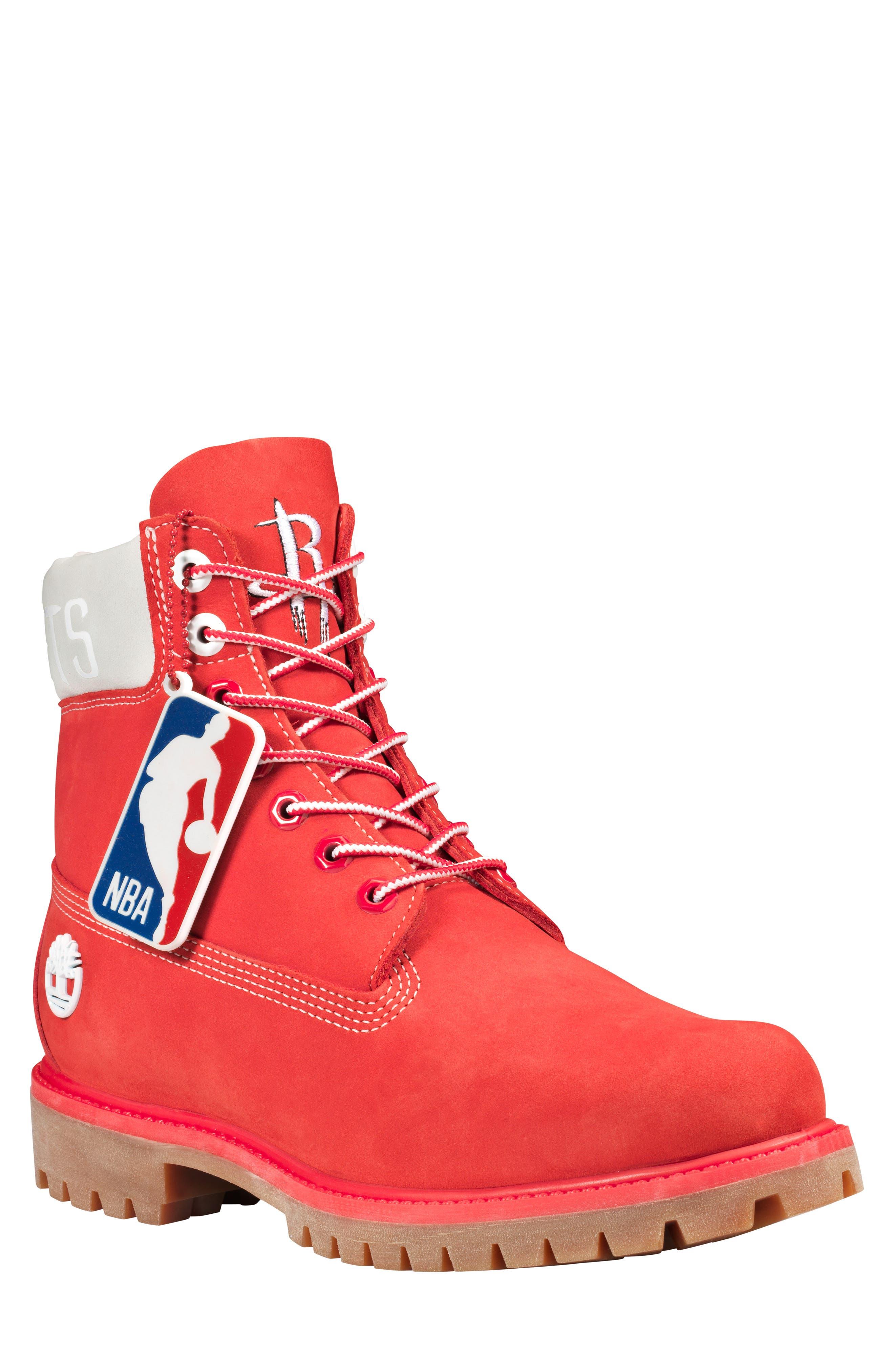 Timberland Houston Rockets Plain Toe Boot, Red