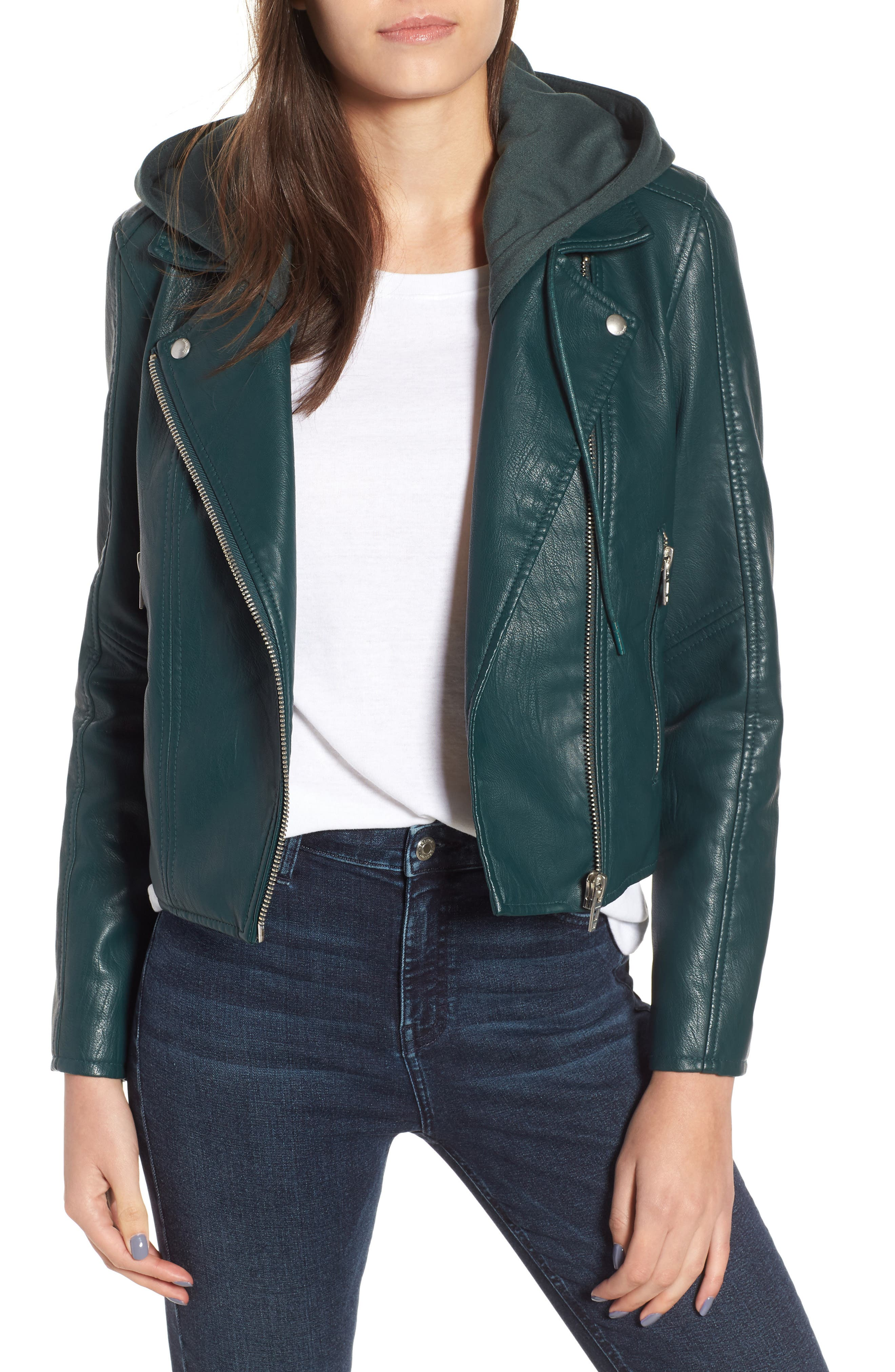 BLANKNYC Meant to Be Moto Jacket with Removable Hood, Main, color, EVERGREEN