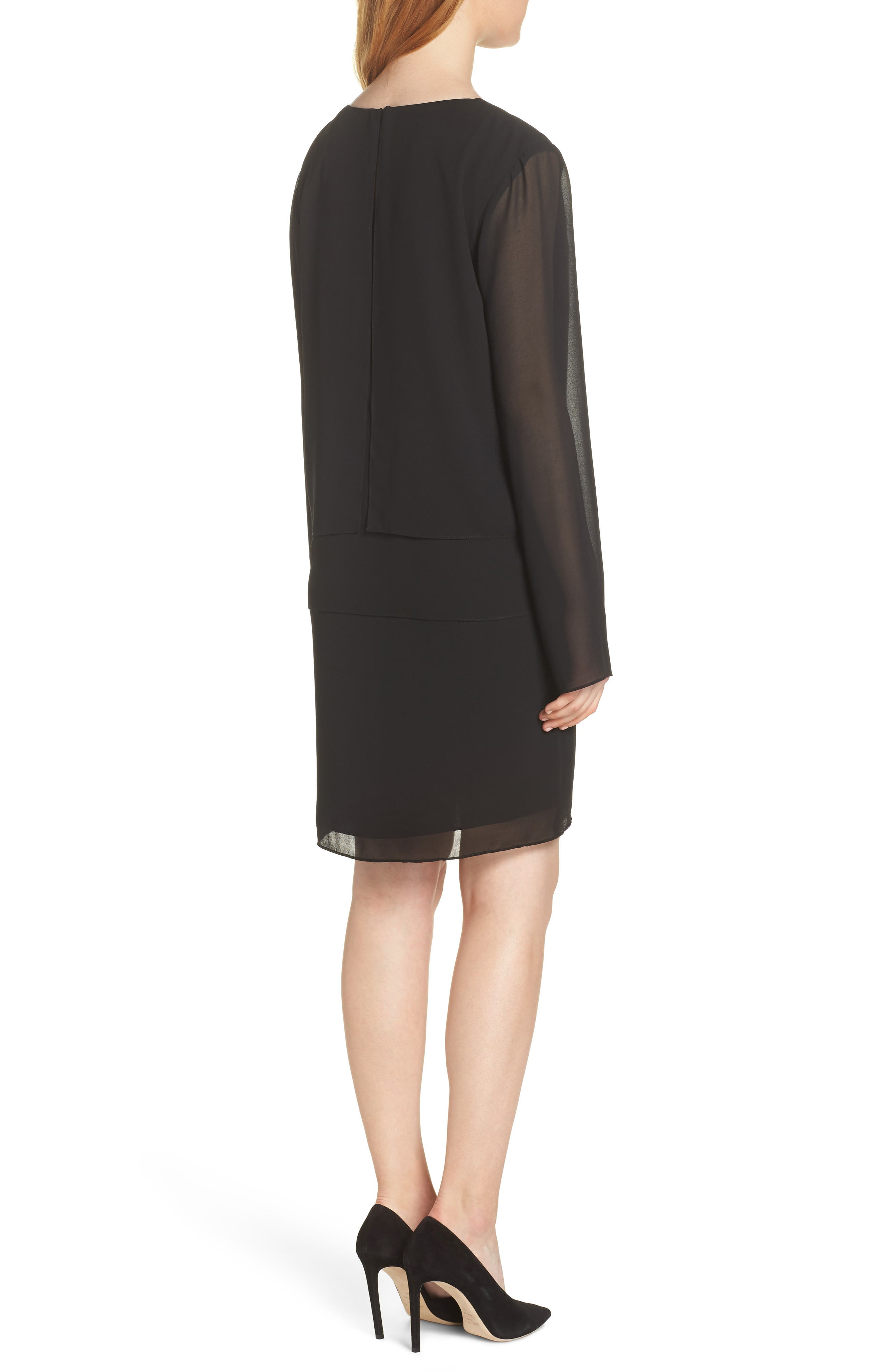 CHARLES HENRY, Layered Popover Chiffon Dress, Alternate thumbnail 2, color, 001