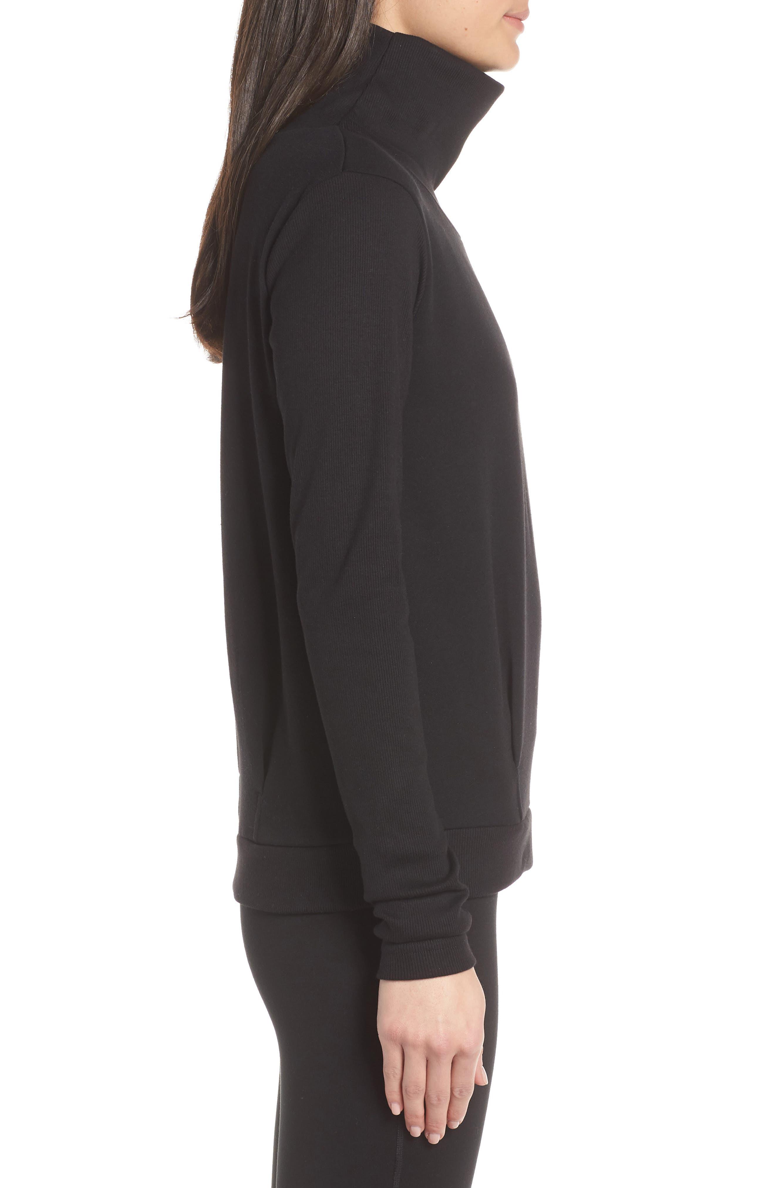 ALO, Clarity Long Sleeve Sweatshirt, Alternate thumbnail 4, color, BLACK