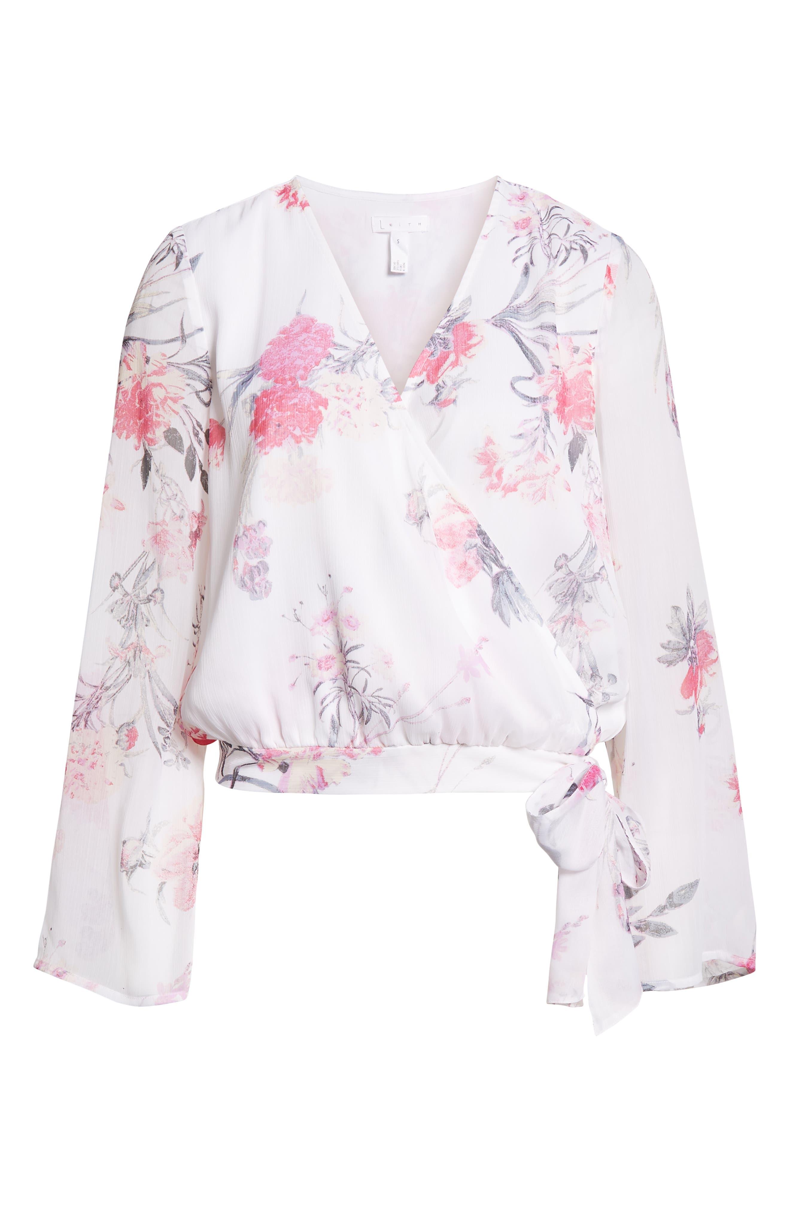 LEITH, Floral Faux Wrap Top, Alternate thumbnail 6, color, WHITE ROMANTIC BLOOMS