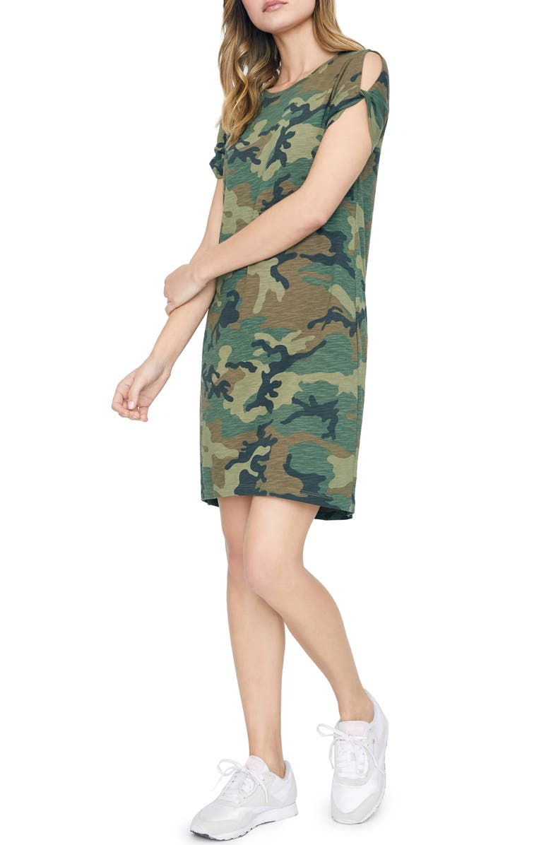 748731e07a Sanctuary So Twisted Sleeve Detail Cotton Blend T-Shirt Dress In Love Camo