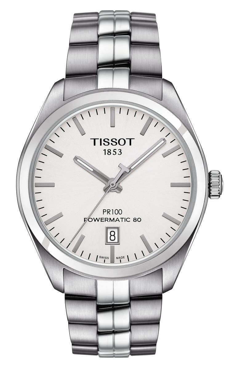 Tissot PR 100 POWERMATIC 80 BRACELET WATCH, 39MM