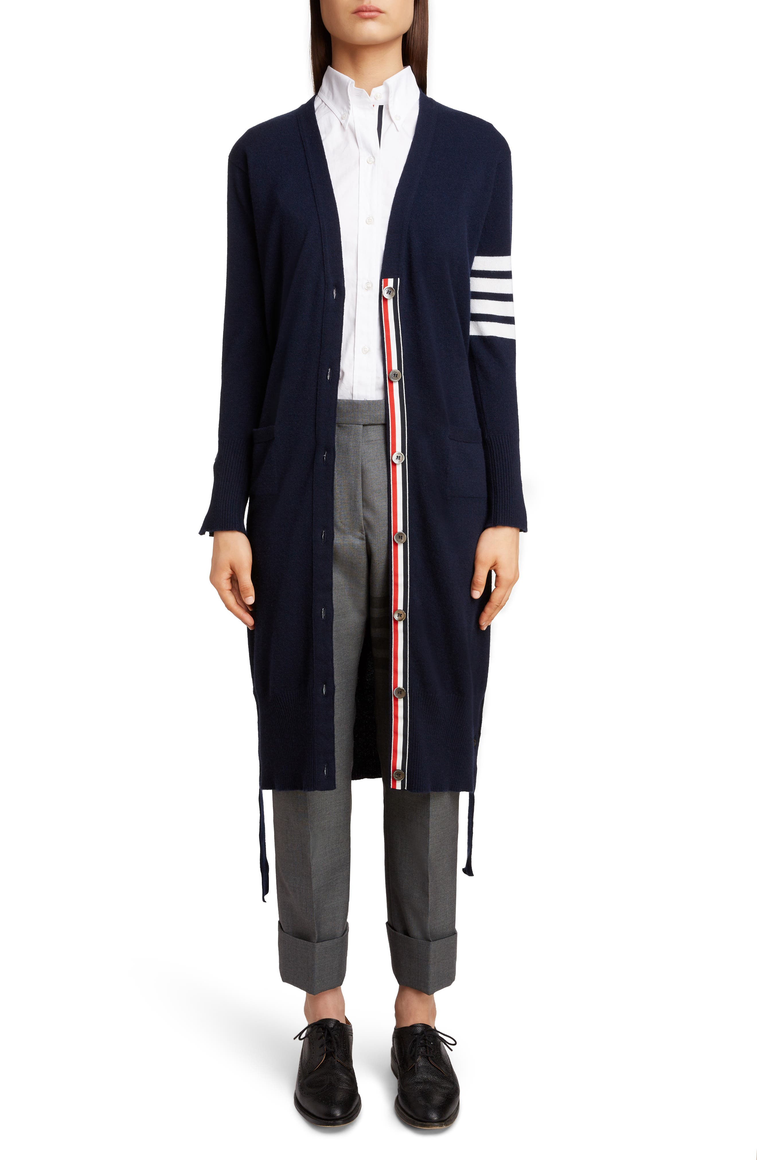 THOM BROWNE 4-Bar Cashmere Long Cardigan, Main, color, NAVY