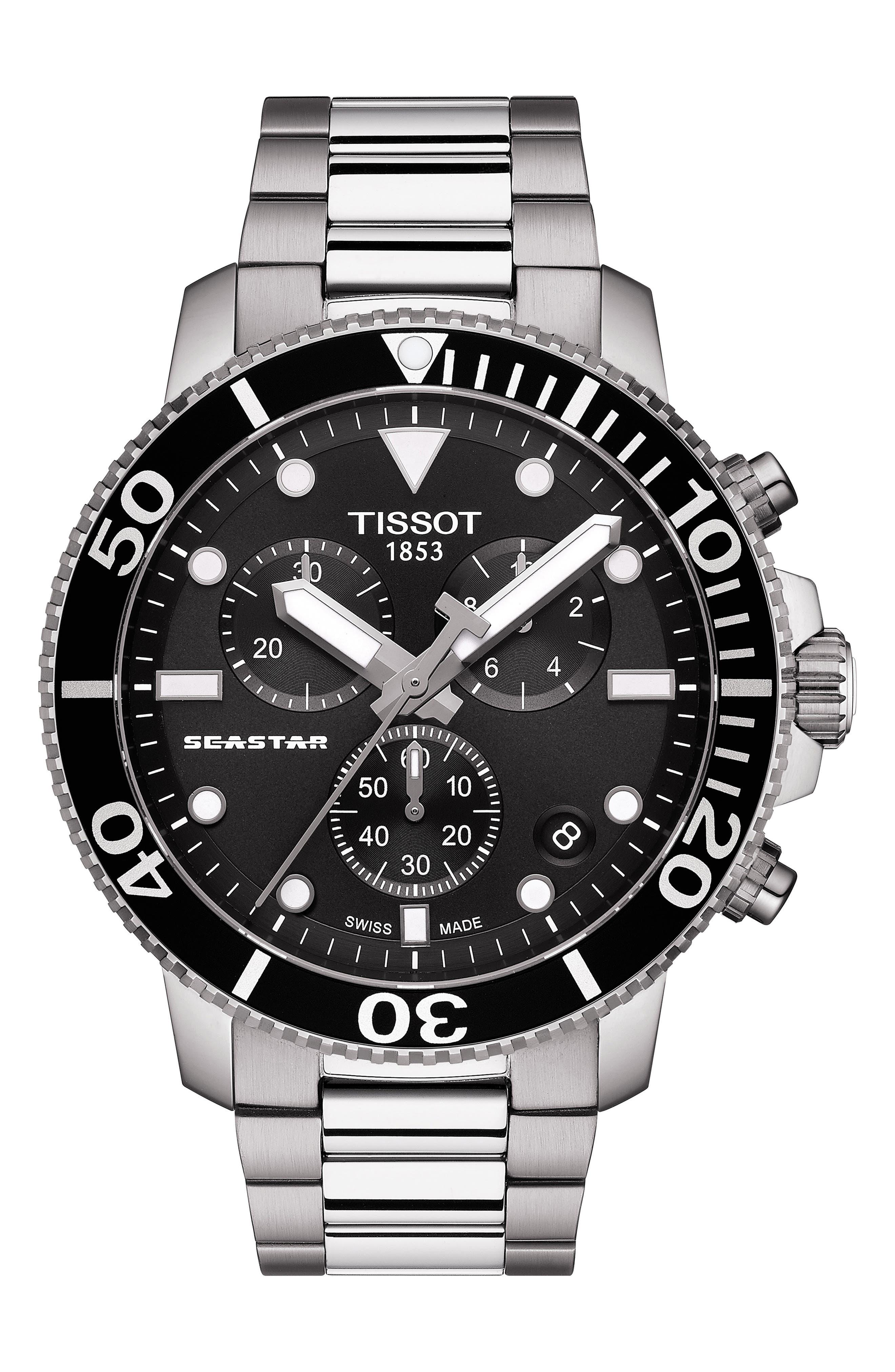 TISSOT, Seastar 1000 Chronograph Bracelet Watch, 45.5mm, Main thumbnail 1, color, SILVER/ BLACK/ SILVER