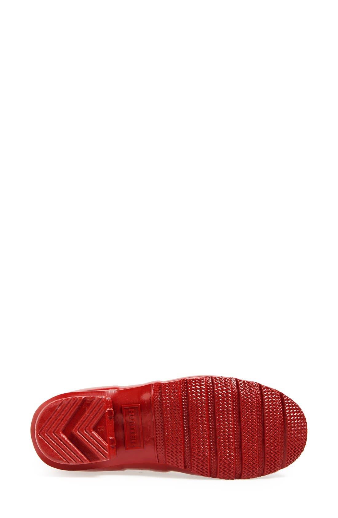 HUNTER, Original High Gloss Waterproof Boot, Alternate thumbnail 4, color, MILITARY RED