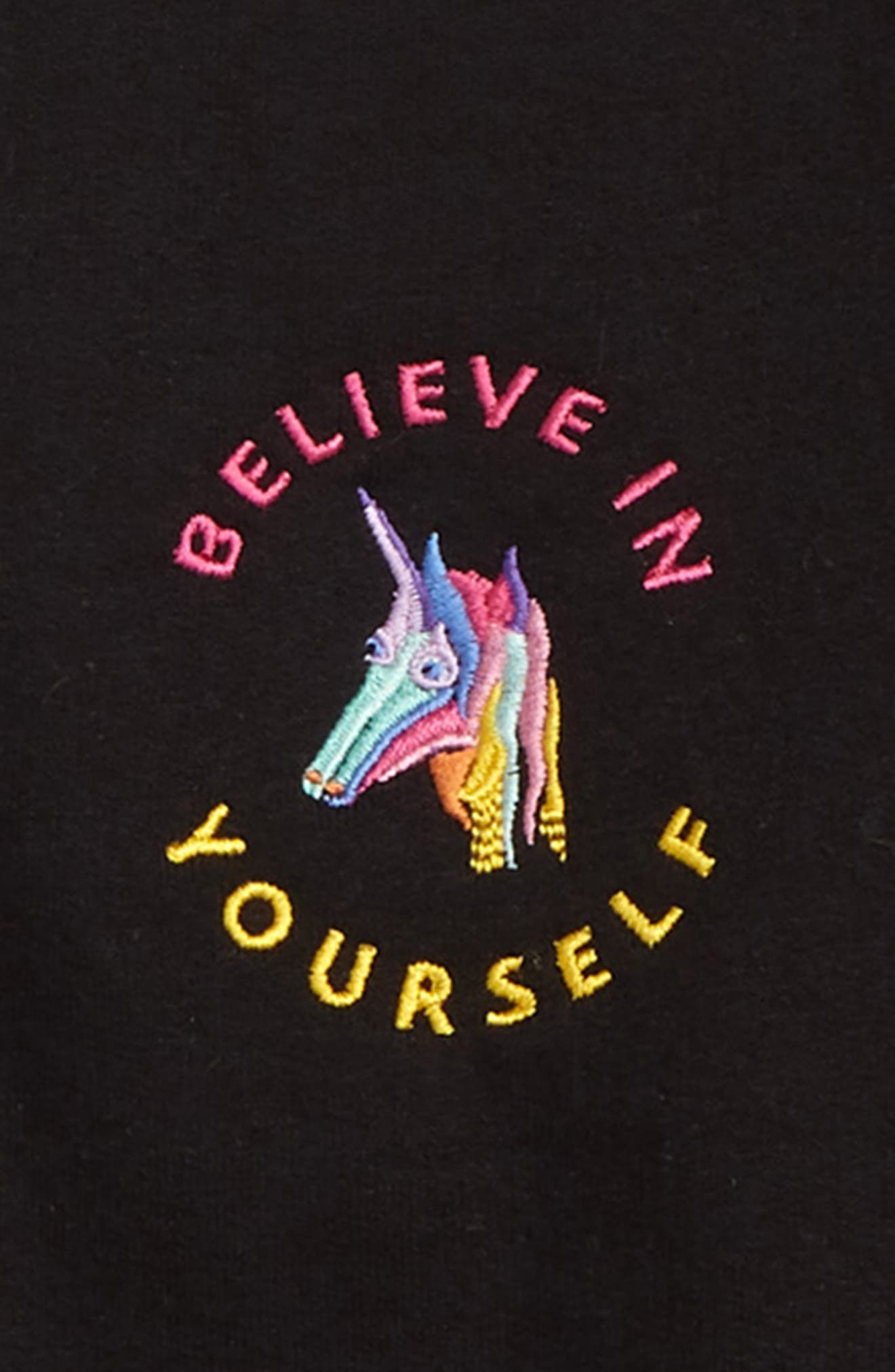 SUB_URBAN RIOT, Believe in Yourself Sweatshirt, Alternate thumbnail 2, color, BLACK