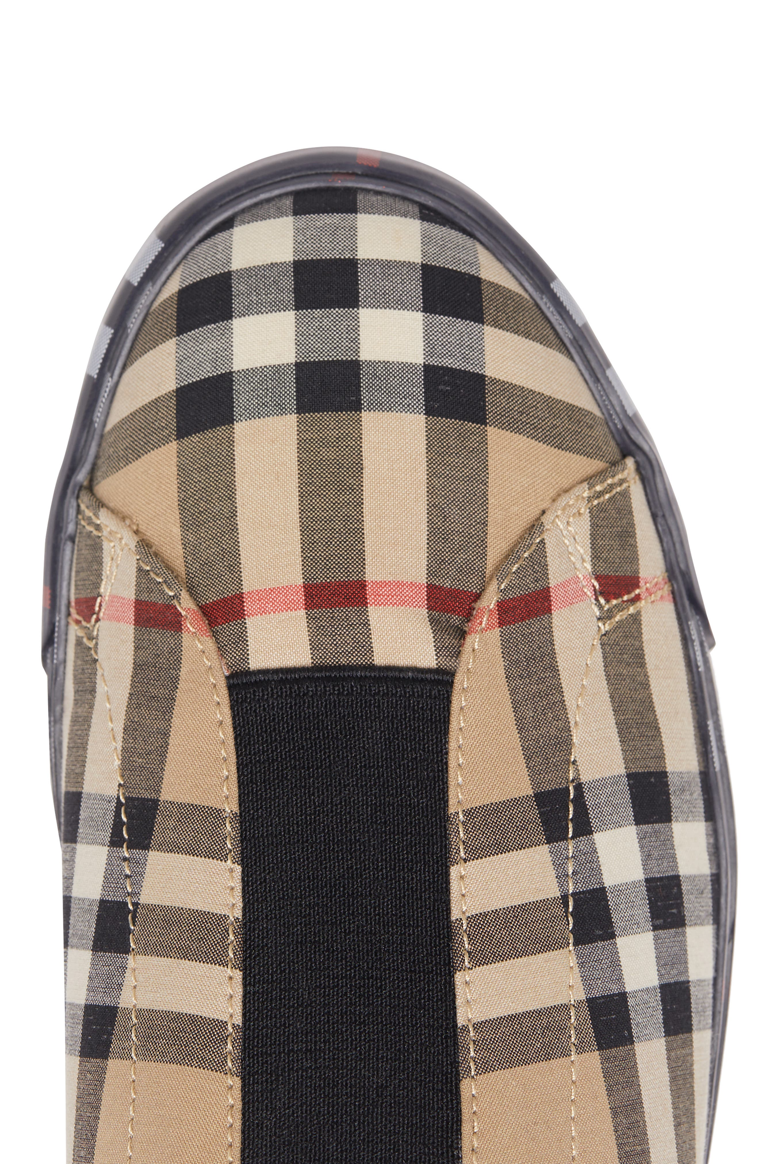 BURBERRY, Markham Vintage Check Slip-On Sneaker, Alternate thumbnail 7, color, BEIGE PLAID