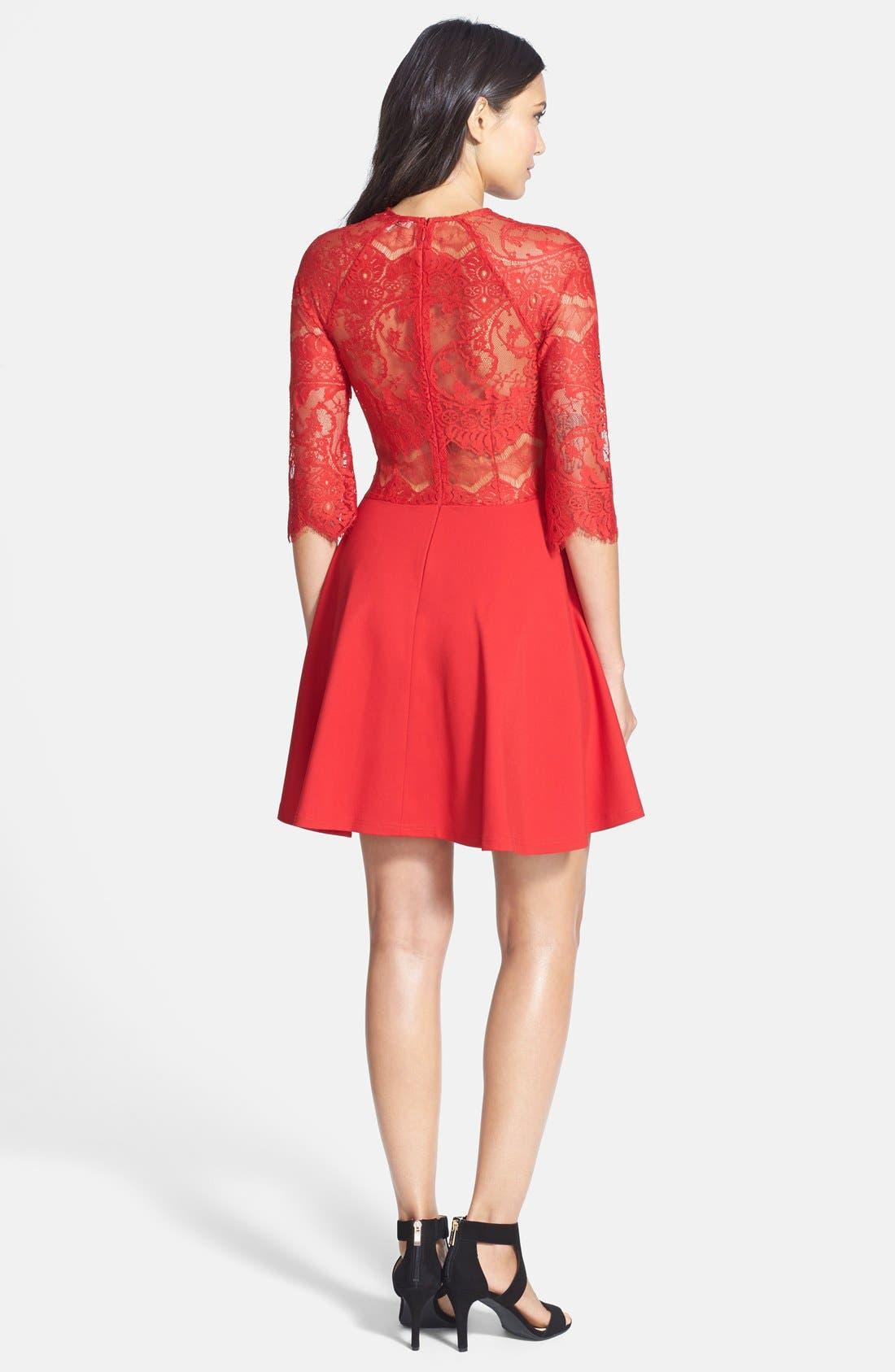 BB DAKOTA, 'Yale' Lace Panel Fit & Flare Dress, Alternate thumbnail 2, color, 600