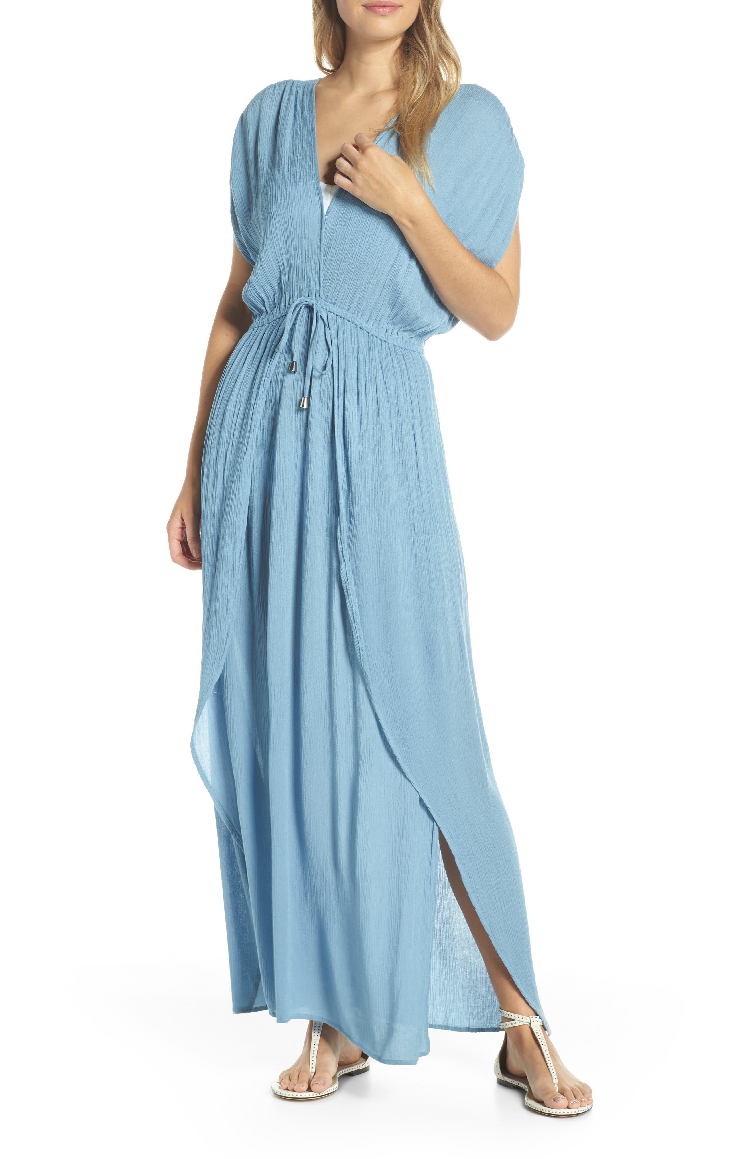ELAN, Wrap Maxi Cover-Up Dress, Main thumbnail 1, color, WASHED BLUE