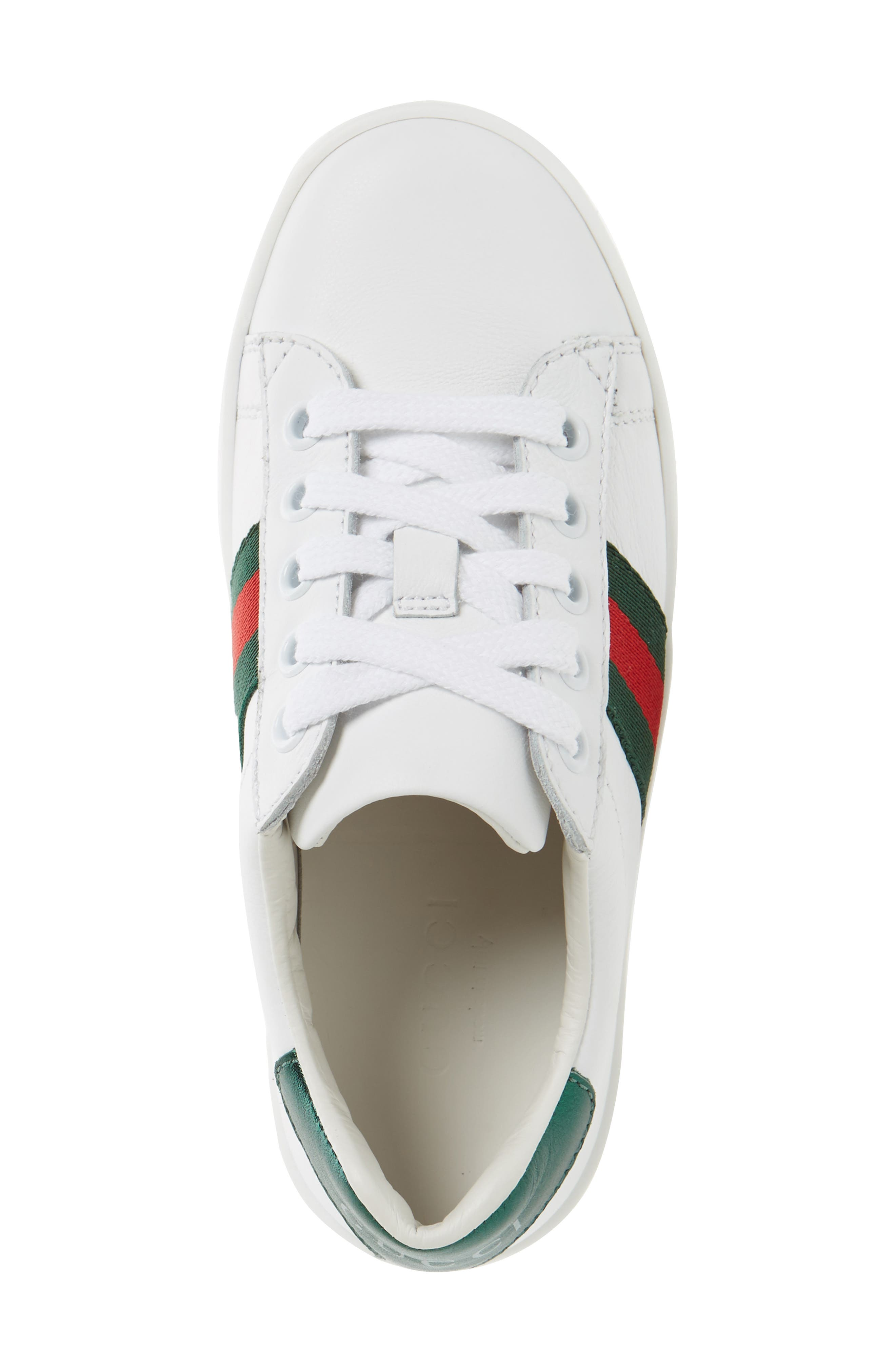GUCCI, 'Ace' Sneaker, Alternate thumbnail 4, color, WHITE/ GREEN