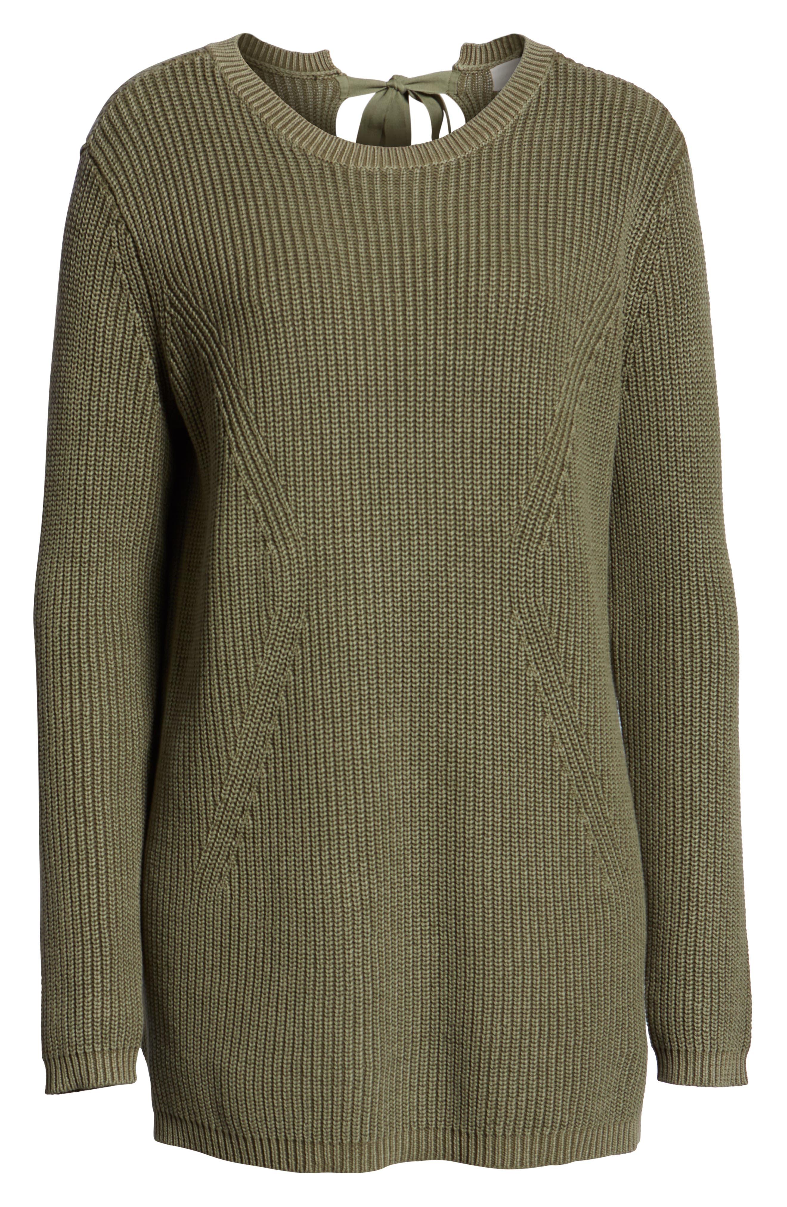 CASLON<SUP>®</SUP>, Tie Back Tunic Sweater, Alternate thumbnail 6, color, OLIVE SARMA