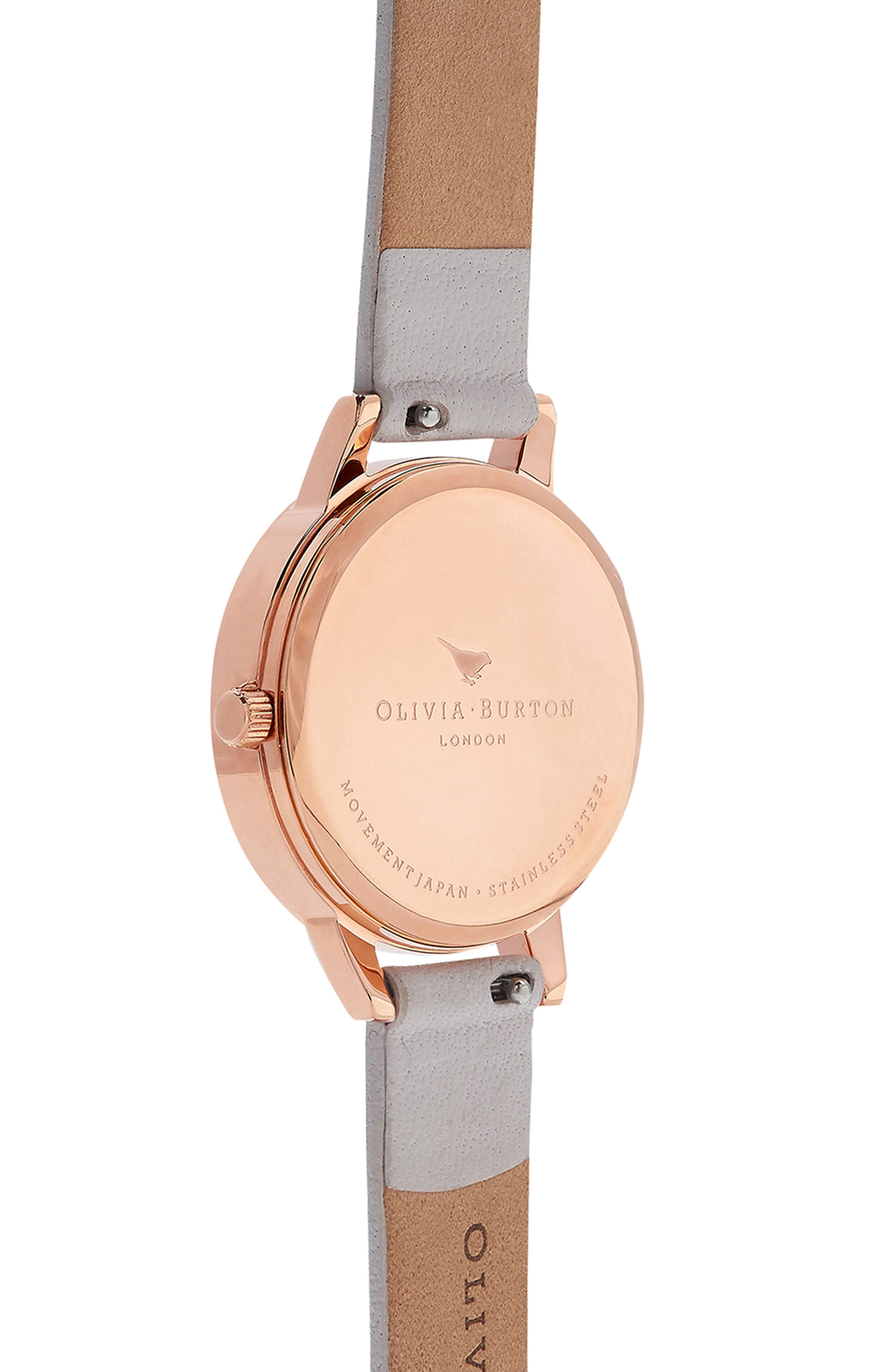 OLIVIA BURTON, Abstract Florals Leather Strap Watch, 30mm, Alternate thumbnail 3, color, BLUSH/ ROSE GOLD