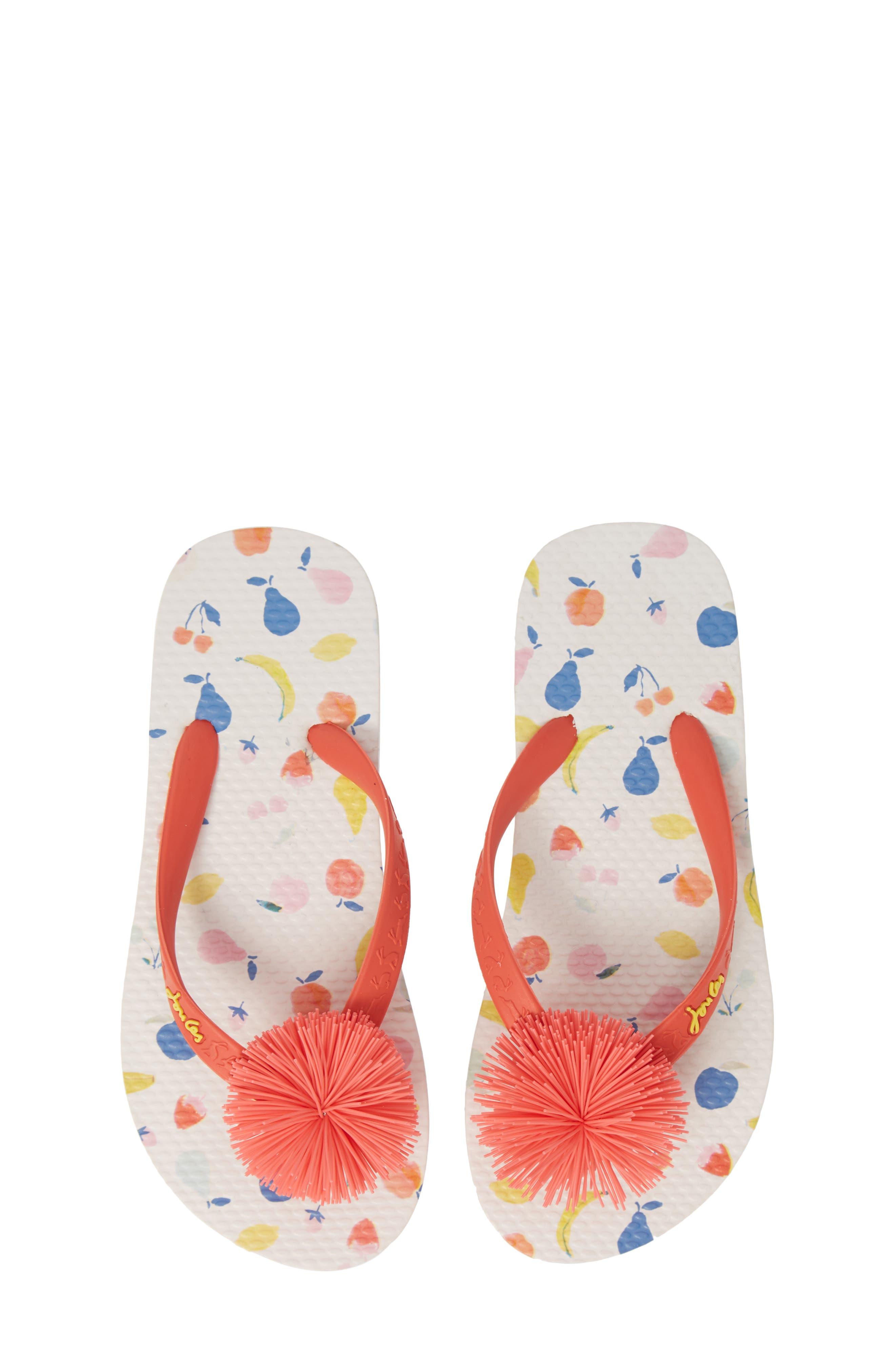 JOULES Embellished Flip Flop, Main, color, WHITE PETALS