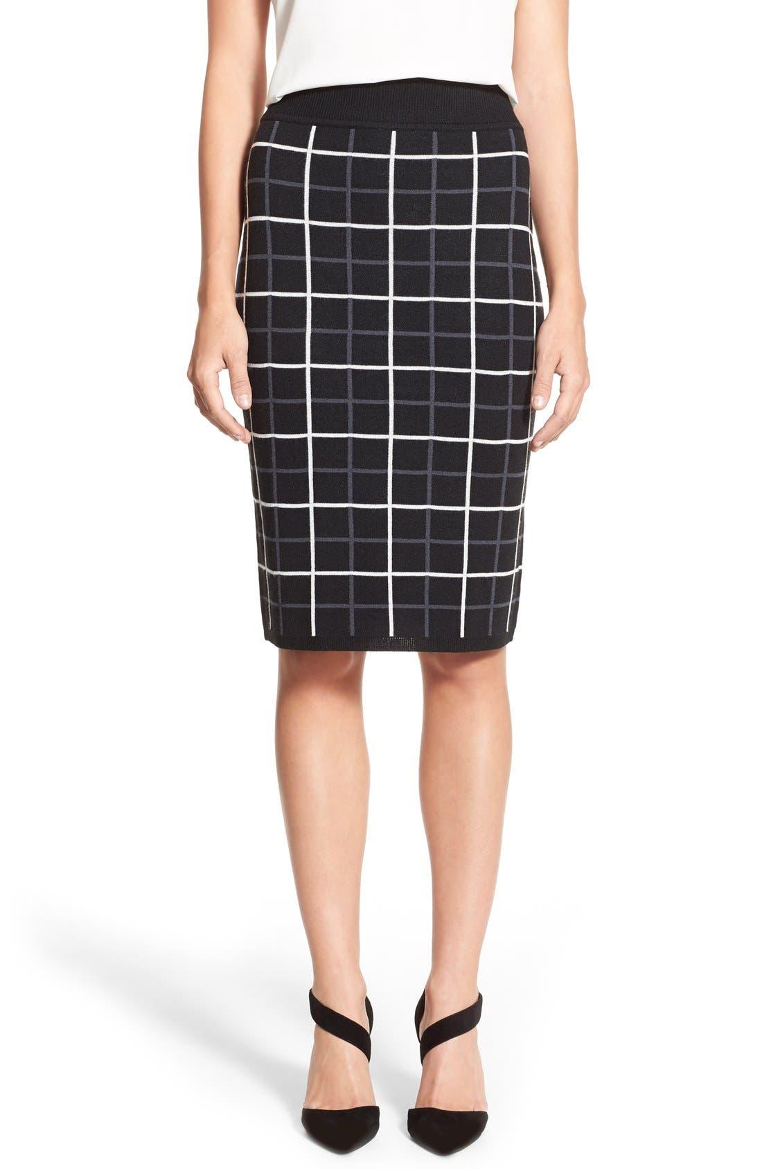 HALOGEN<SUP>®</SUP>, Windowpane Check Knit Pencil Skirt, Main thumbnail 1, color, 001
