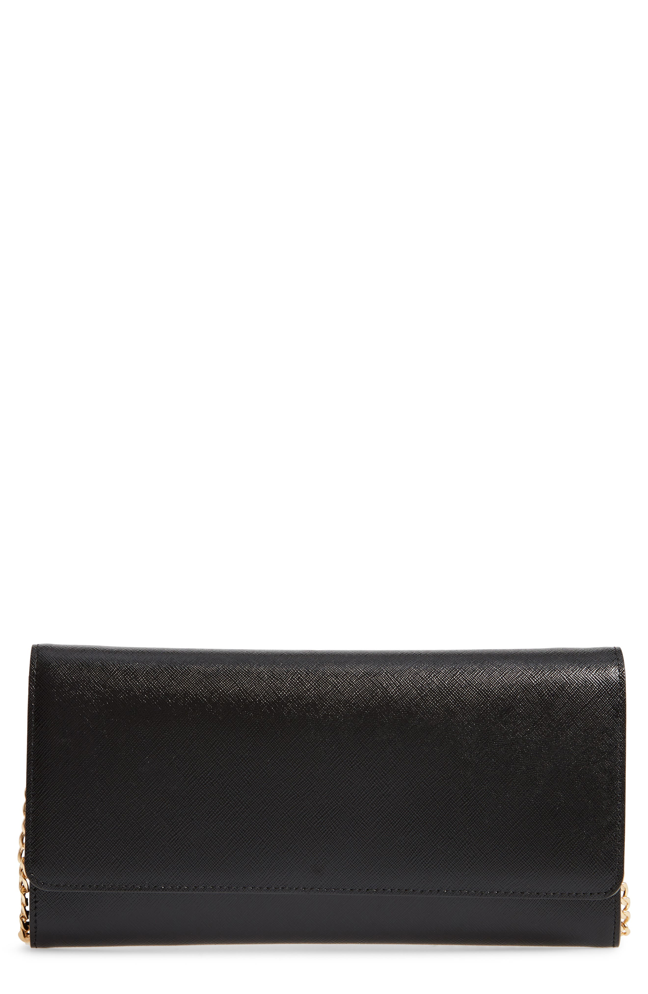 NORDSTROM, Selena Leather Clutch, Main thumbnail 1, color, BLACK