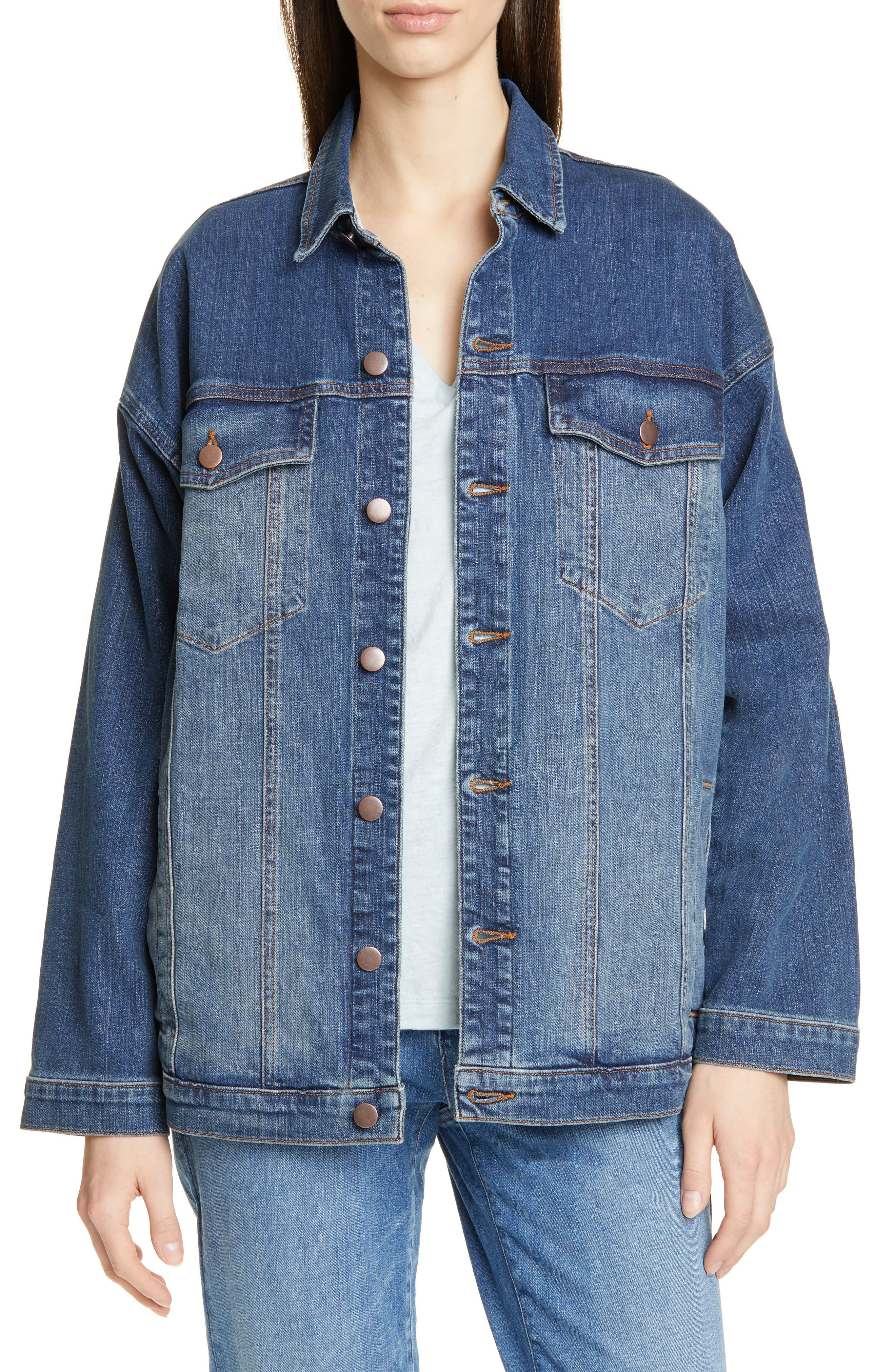 EILEEN FISHER, Oversize Stretch Organic Cotton Denim Jacket, Main thumbnail 1, color, AGED INDIGO