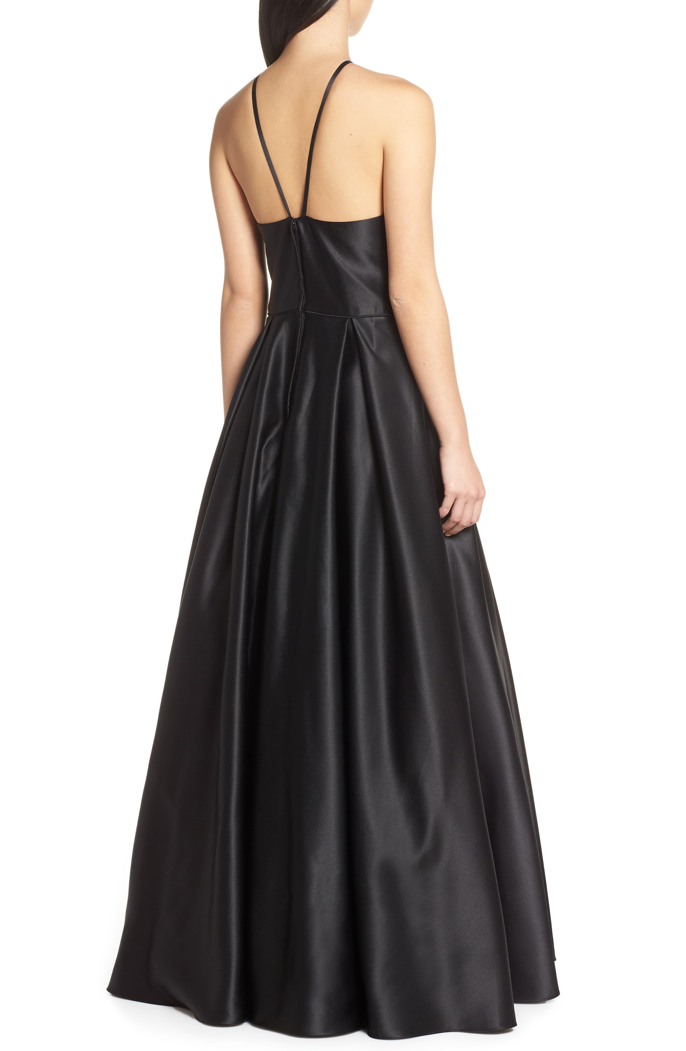 BLONDIE NITES, Halter Neck Embellished Pocket Satin Evening Dress, Alternate thumbnail 2, color, BLACK/ GOLD