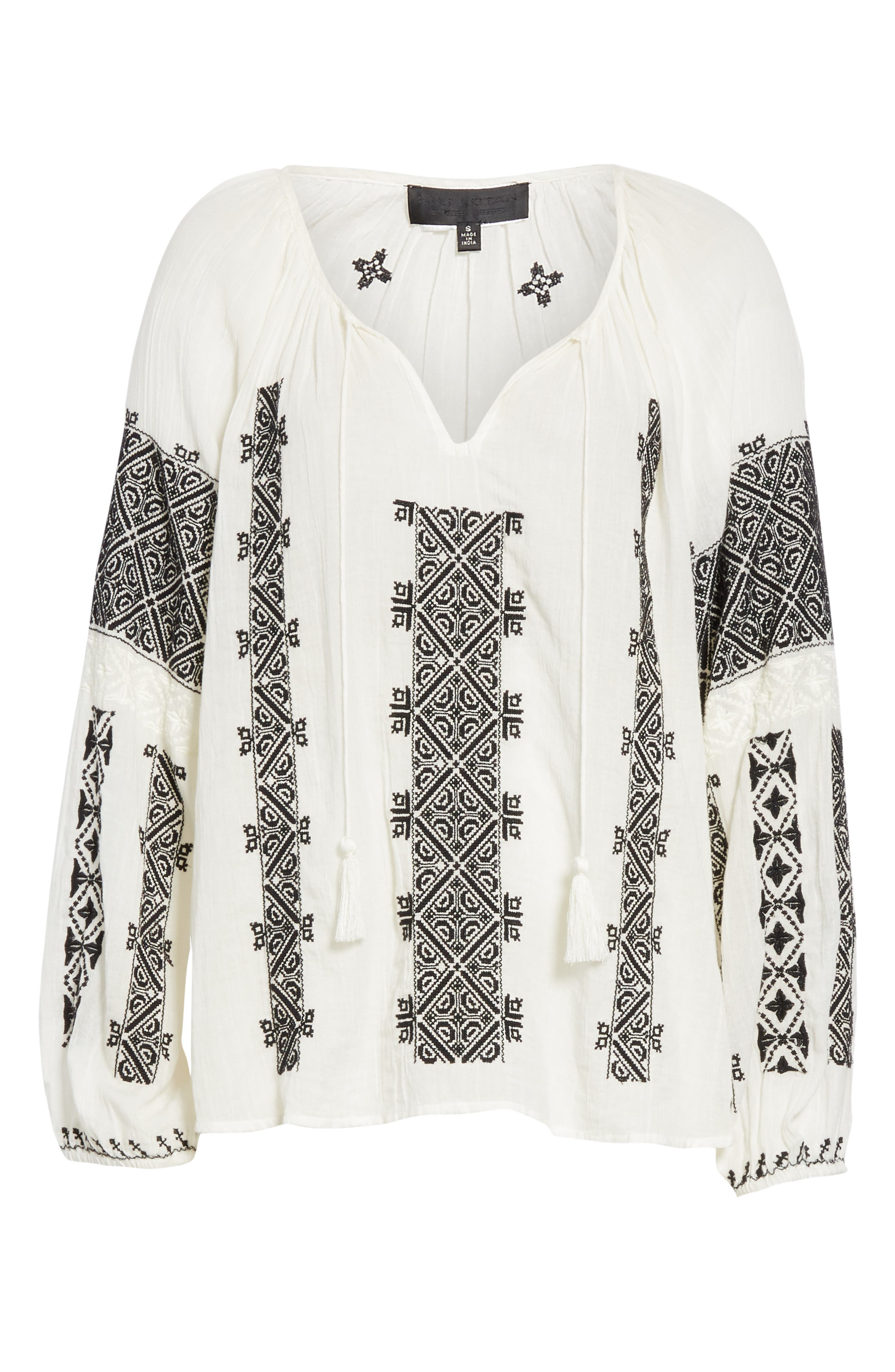 NILI LOTAN, Alassio Embroidered Blouse, Alternate thumbnail 6, color, IVORY WITH BLACK EMBROIDERY