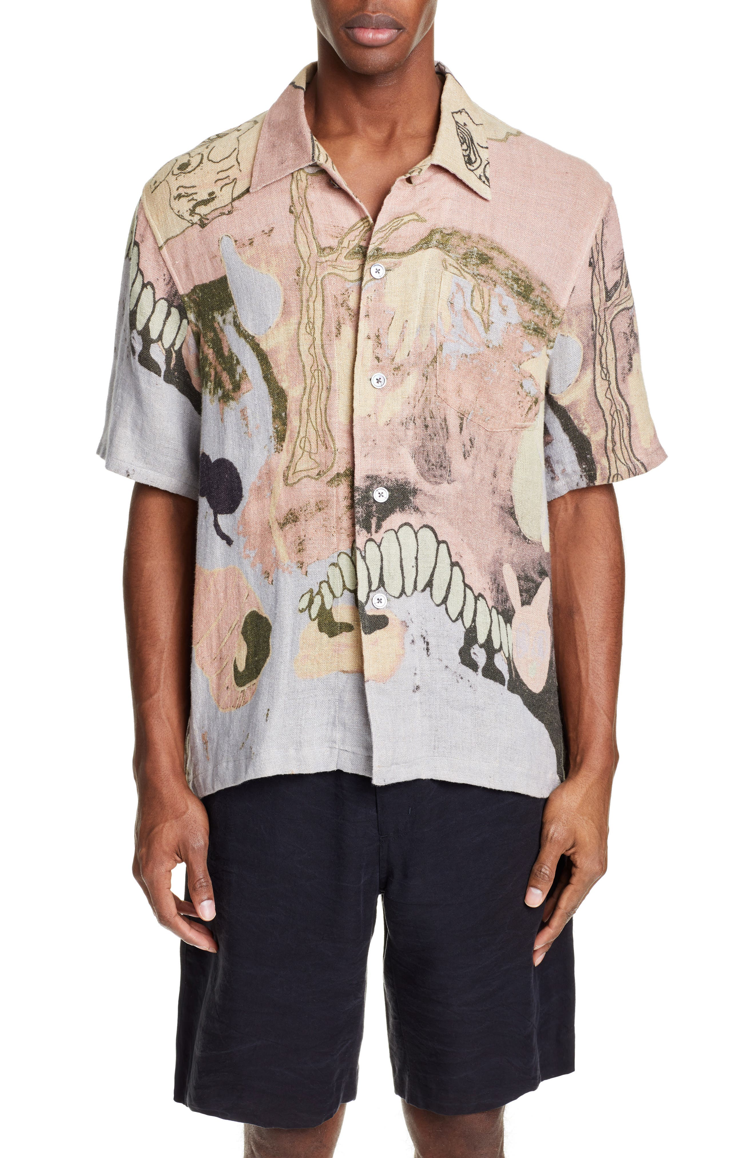 Box Fit Print Linen Shirt by Our Legacy
