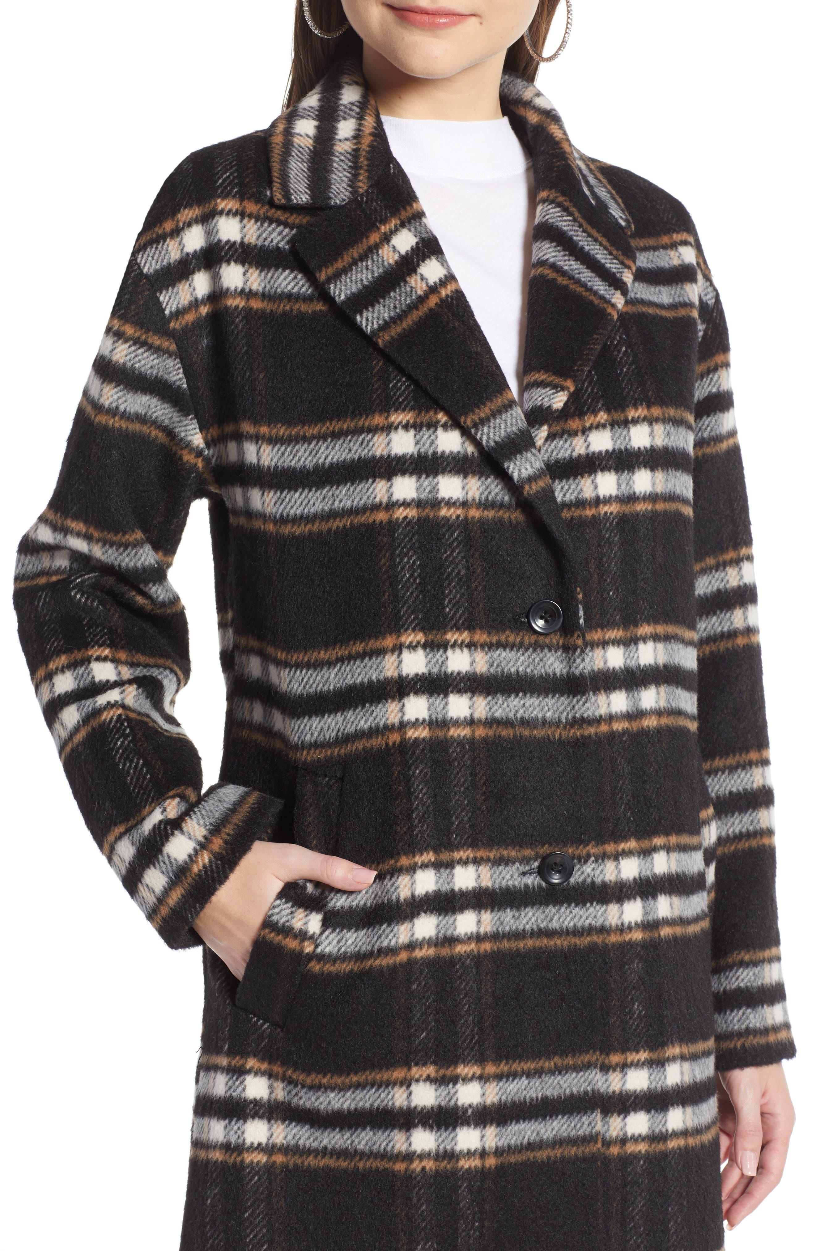 SOMETHING NAVY, Longline Plaid Coat, Alternate thumbnail 5, color, BLACK PLAID