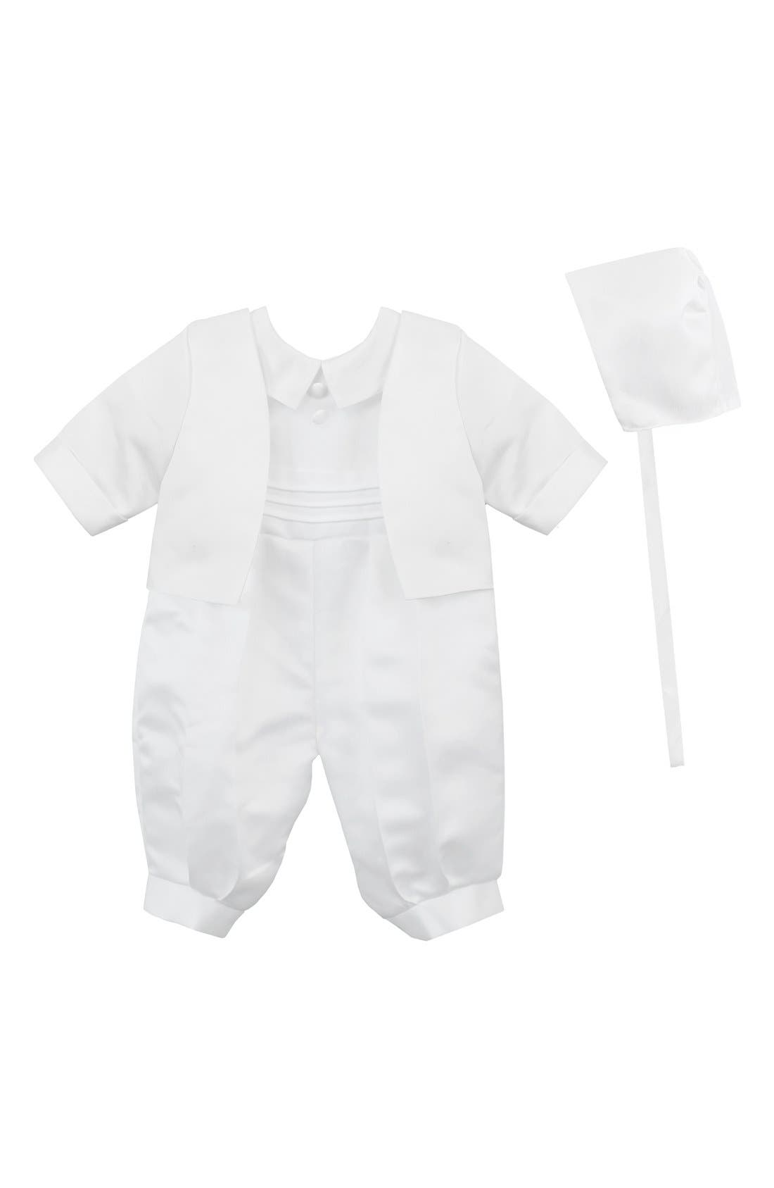 C.I. CASTRO & CO., Christening Romper & Cap, Main thumbnail 1, color, 100
