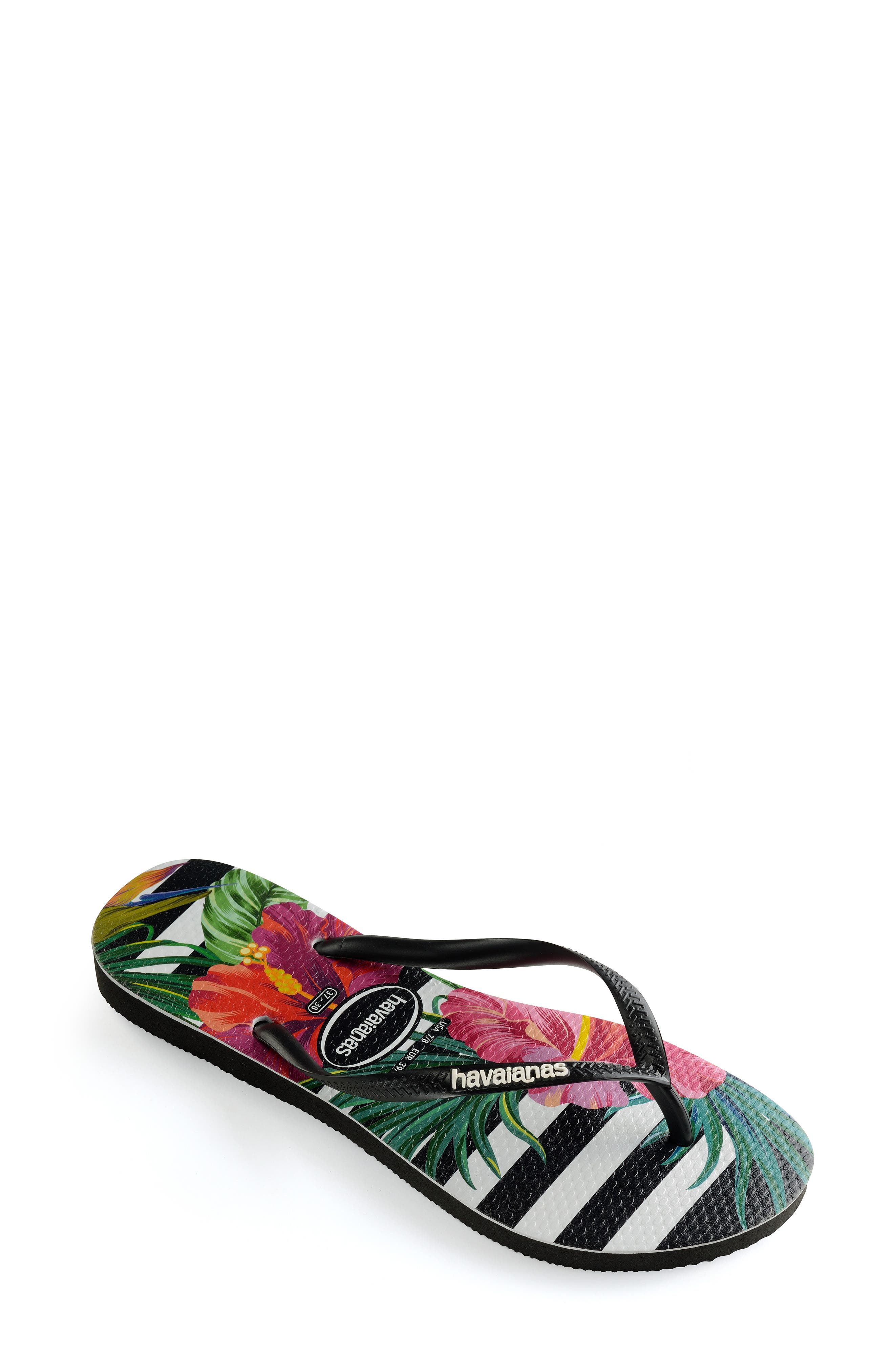 HAVAIANAS, Slim Tropical Floral Flip Flop, Alternate thumbnail 2, color, BLACK/ WHITE