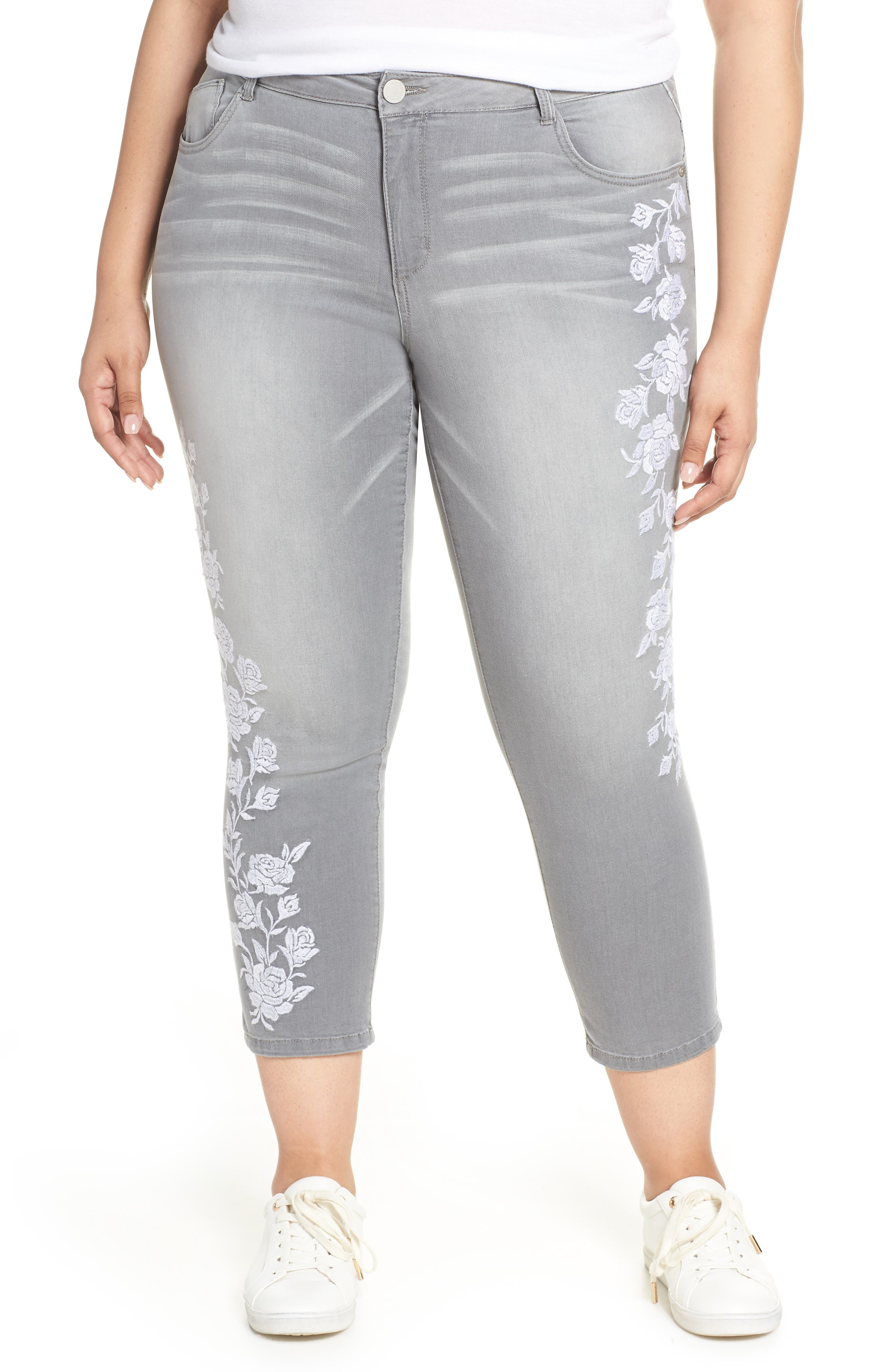 WIT & WISDOM, Embroidered High Waist Ankle Slim Jeans, Main thumbnail 1, color, GREY