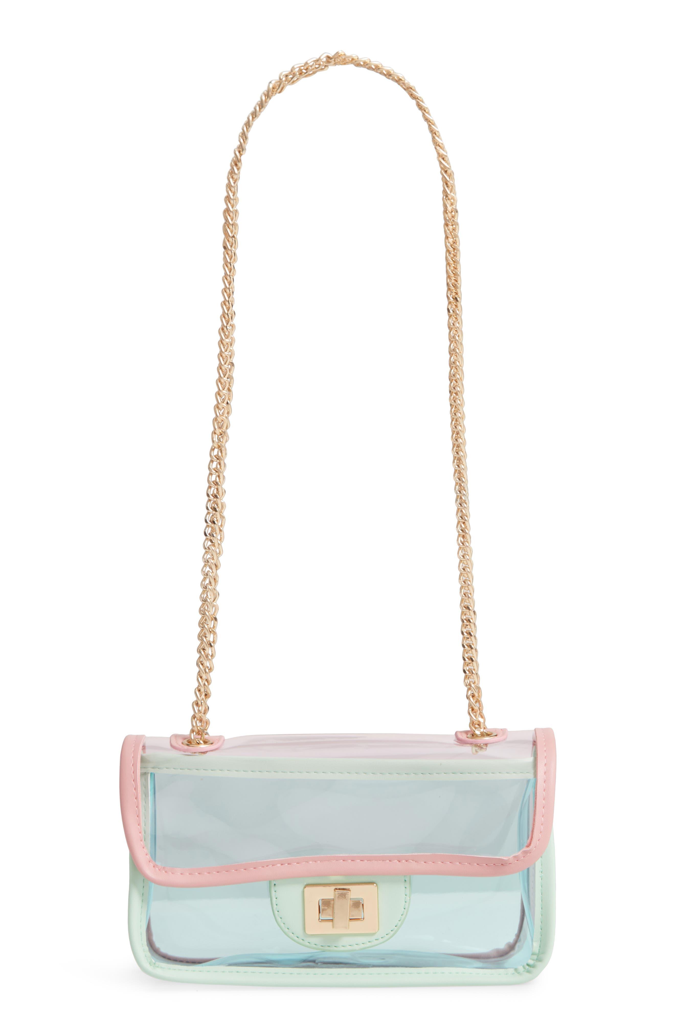 JANE & BERRY, Transparent Crossbody Bag, Main thumbnail 1, color, PINK MULTI