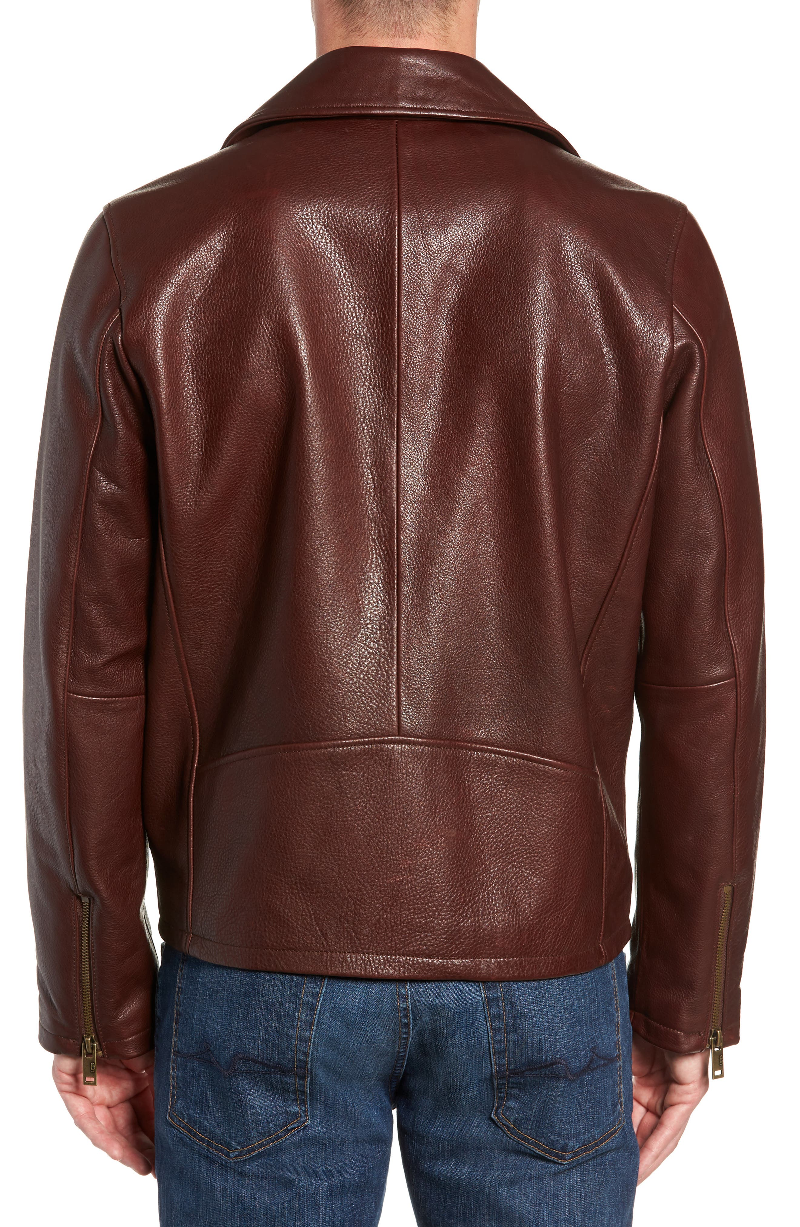 UGG<SUP>®</SUP>, Leather Moto Jacket, Alternate thumbnail 2, color, DARK CHESTNUT