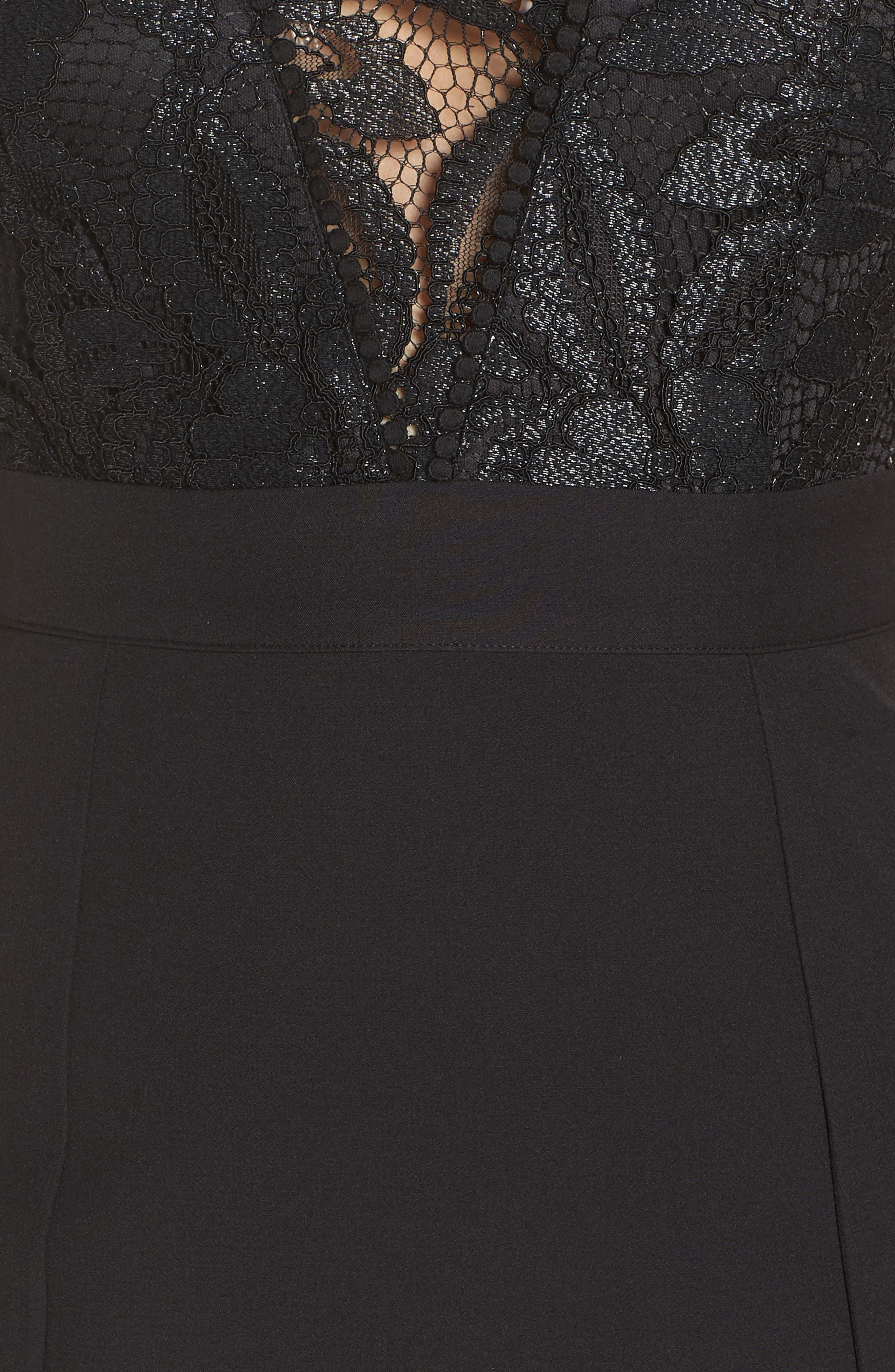 NSR, Kate V-Neck Lace Sheath Dress, Alternate thumbnail 6, color, 001