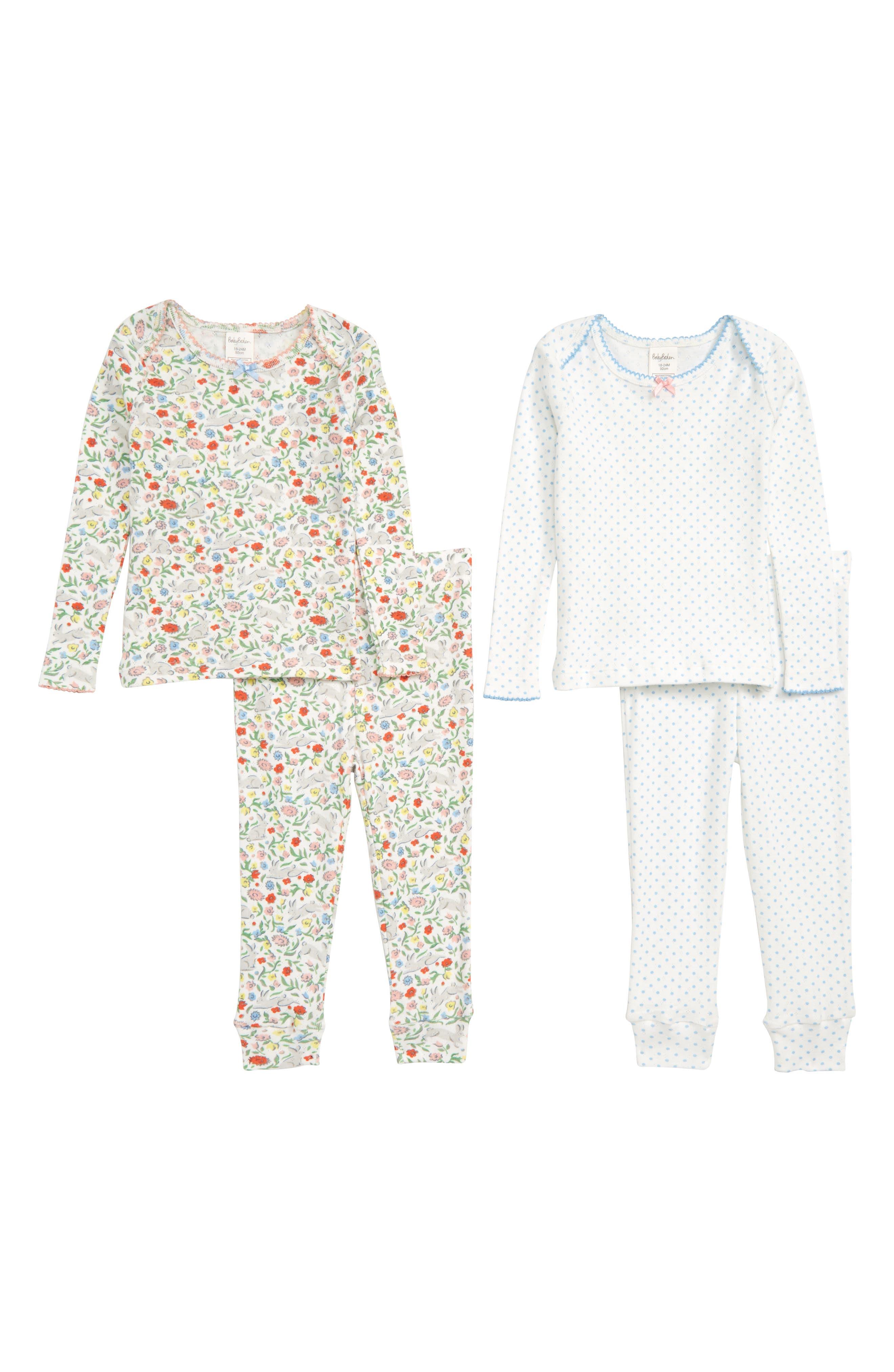 MINI BODEN Cozy Pointelle Tops & Pants Set, Main, color, WILD BUNNIES
