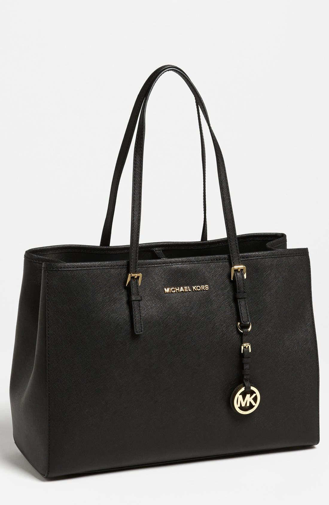 MICHAEL MICHAEL KORS, 'Jet Set - Large' Travel Tote, Main thumbnail 1, color, 001