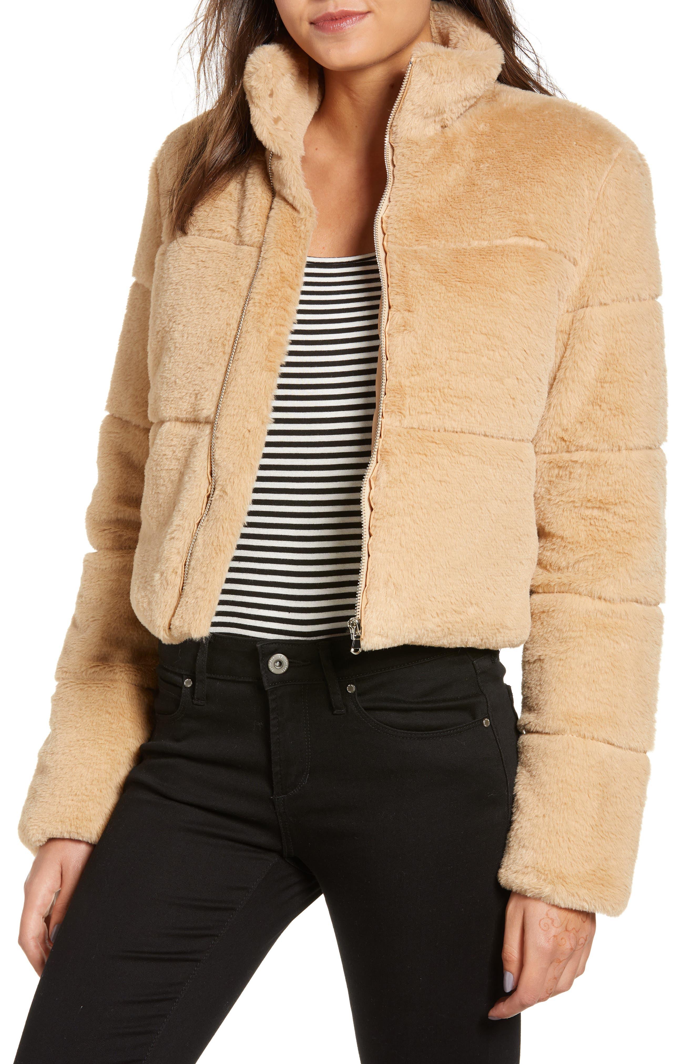 TIGER MIST, Bridget Faux Fur Puffer Jacket, Main thumbnail 1, color, 250