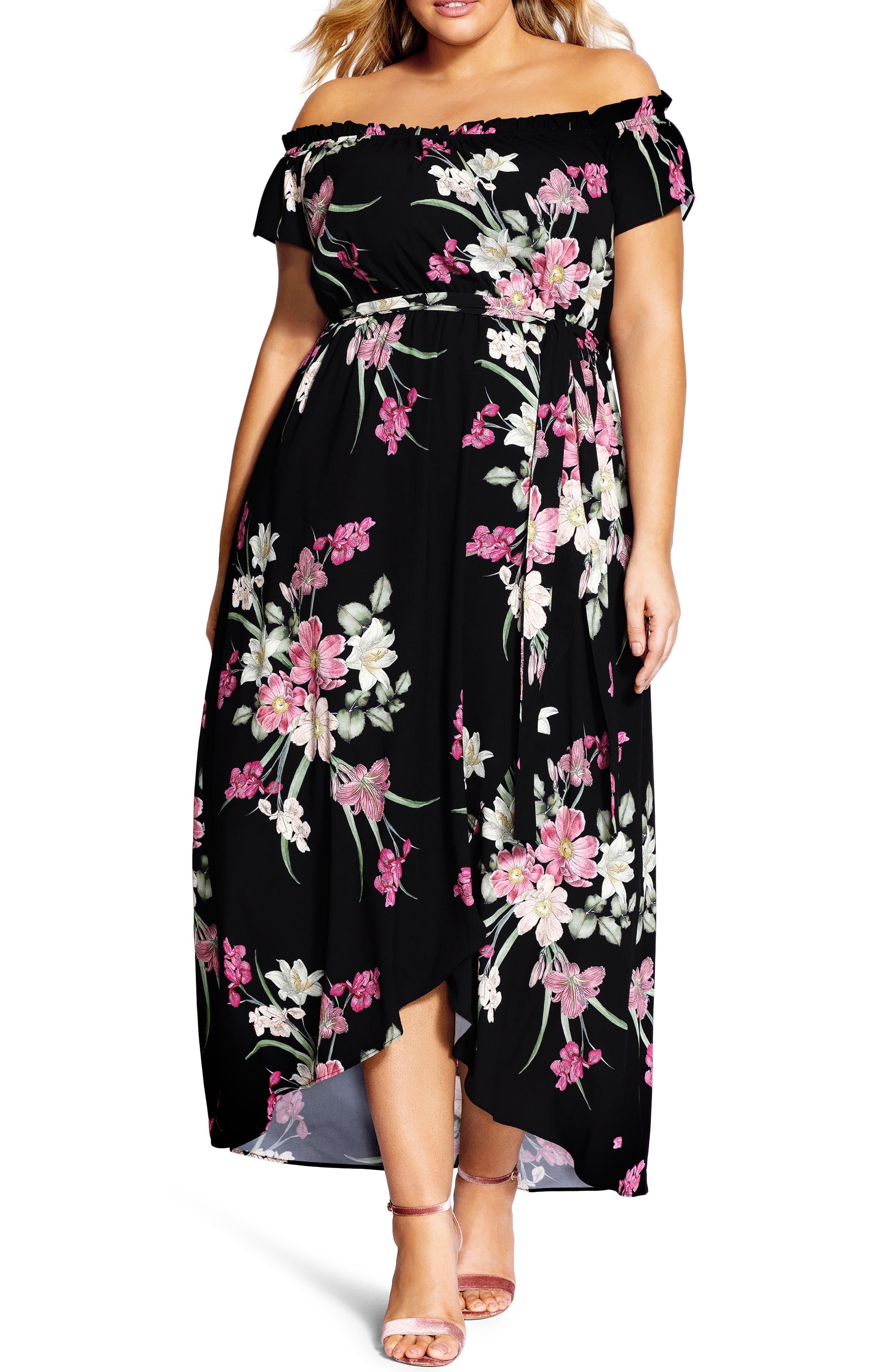 Plus Size City Chic Floral Off The Shoulder Maxi Dress, Black