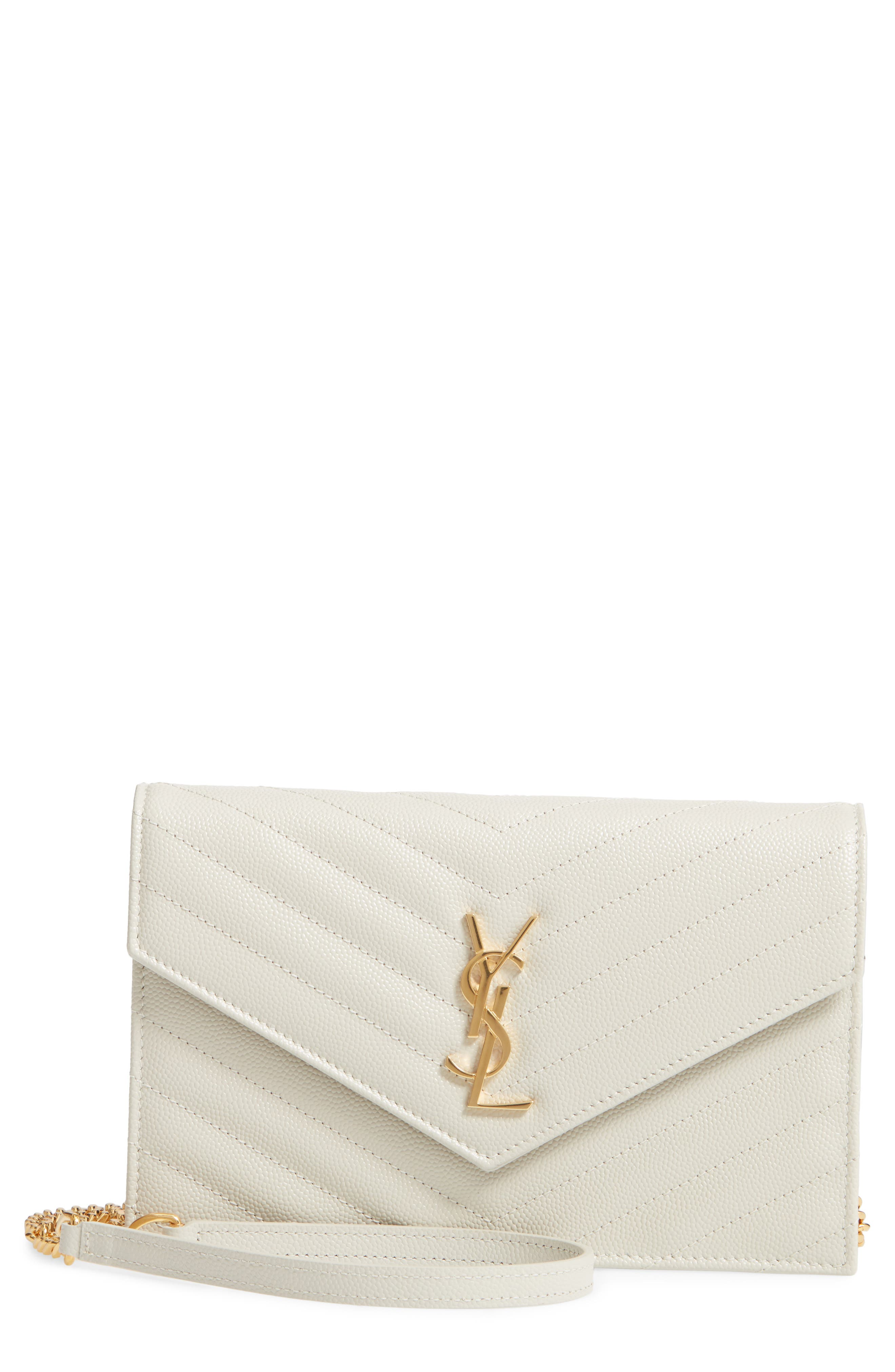 SAINT LAURENT 'Small Mono' Leather Wallet on a Chain, Main, color, CREMASOFT
